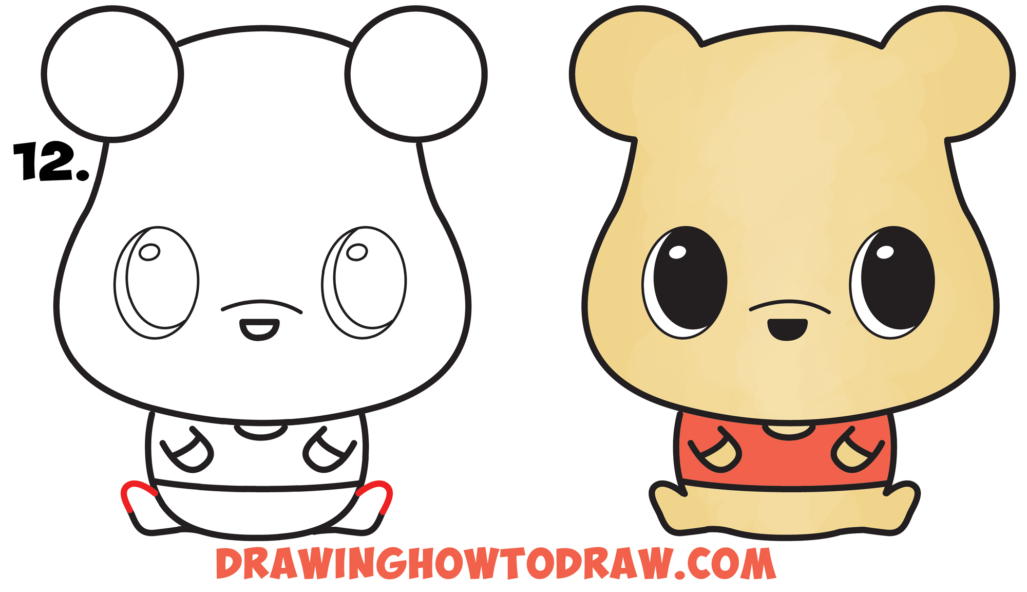 How to Draw a Cute Chibi / Kawaii Winnie The Pooh Simple Steps Drawing Lesson for Beginners & Kids