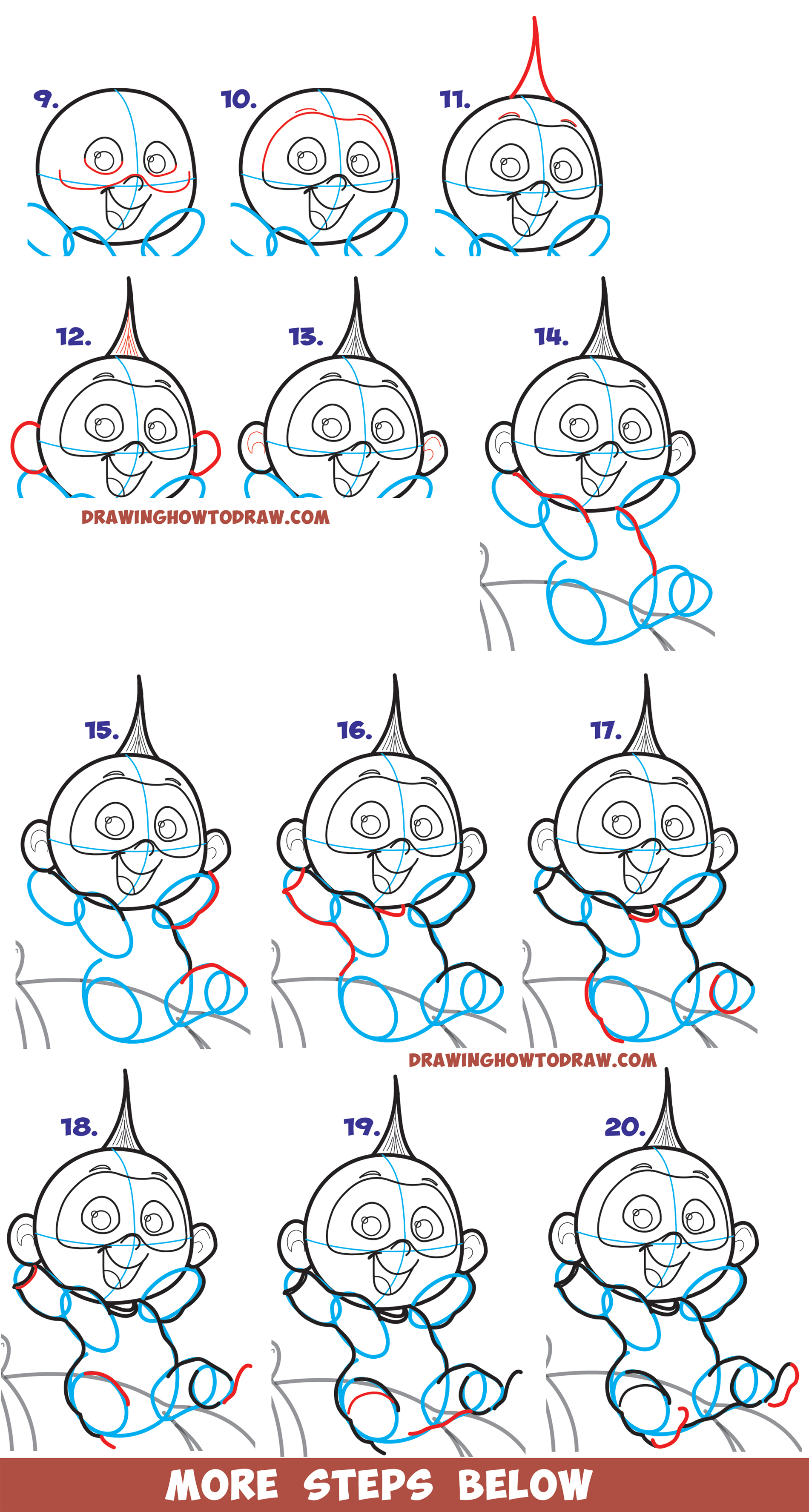 Learn How to Draw Jack Jack the baby from The Incredibles (Part 2 of Drawing The Incredibles 2 Family) Easy Step by Step Tutorial