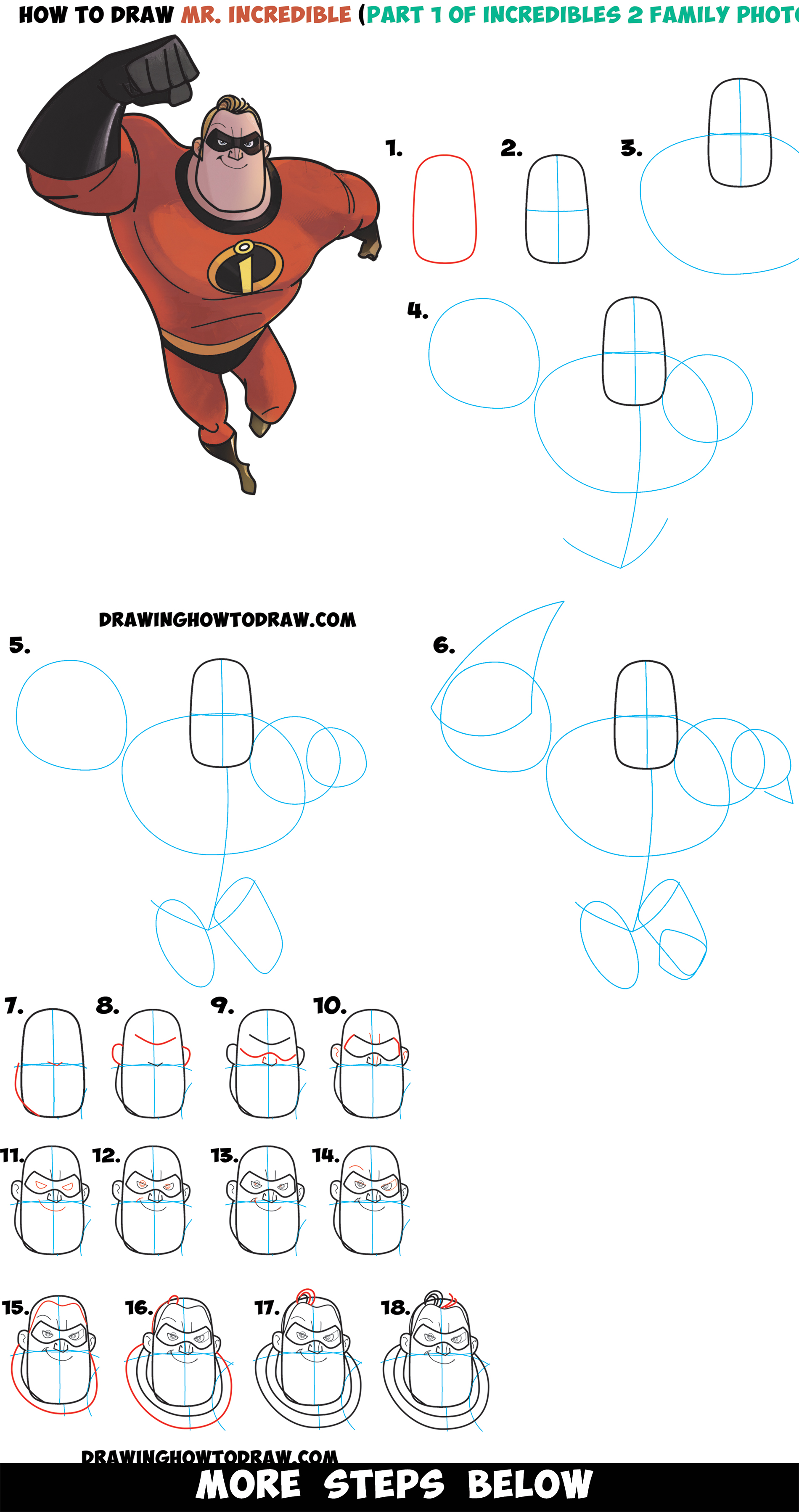 How to Draw Mr. Incredible from The Incredibles 2 (Part 1 of Drawing The Incredibles 2 Family) Easy Step by Step Tutorial