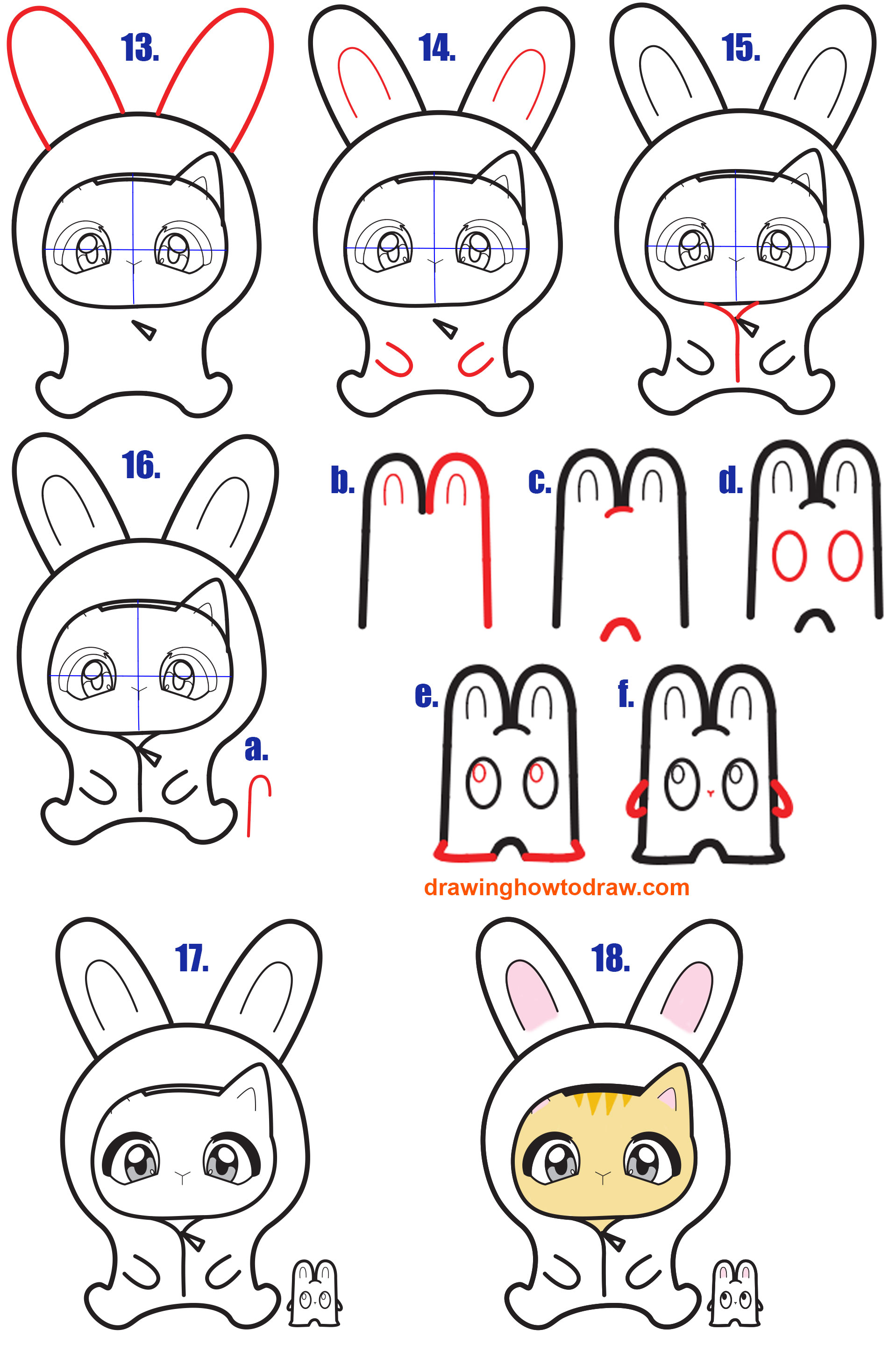 Learn How to Draw a Kawaii Kitten in a Bunny Onesie Costume Simple Steps Drawing Lesson for Beginners