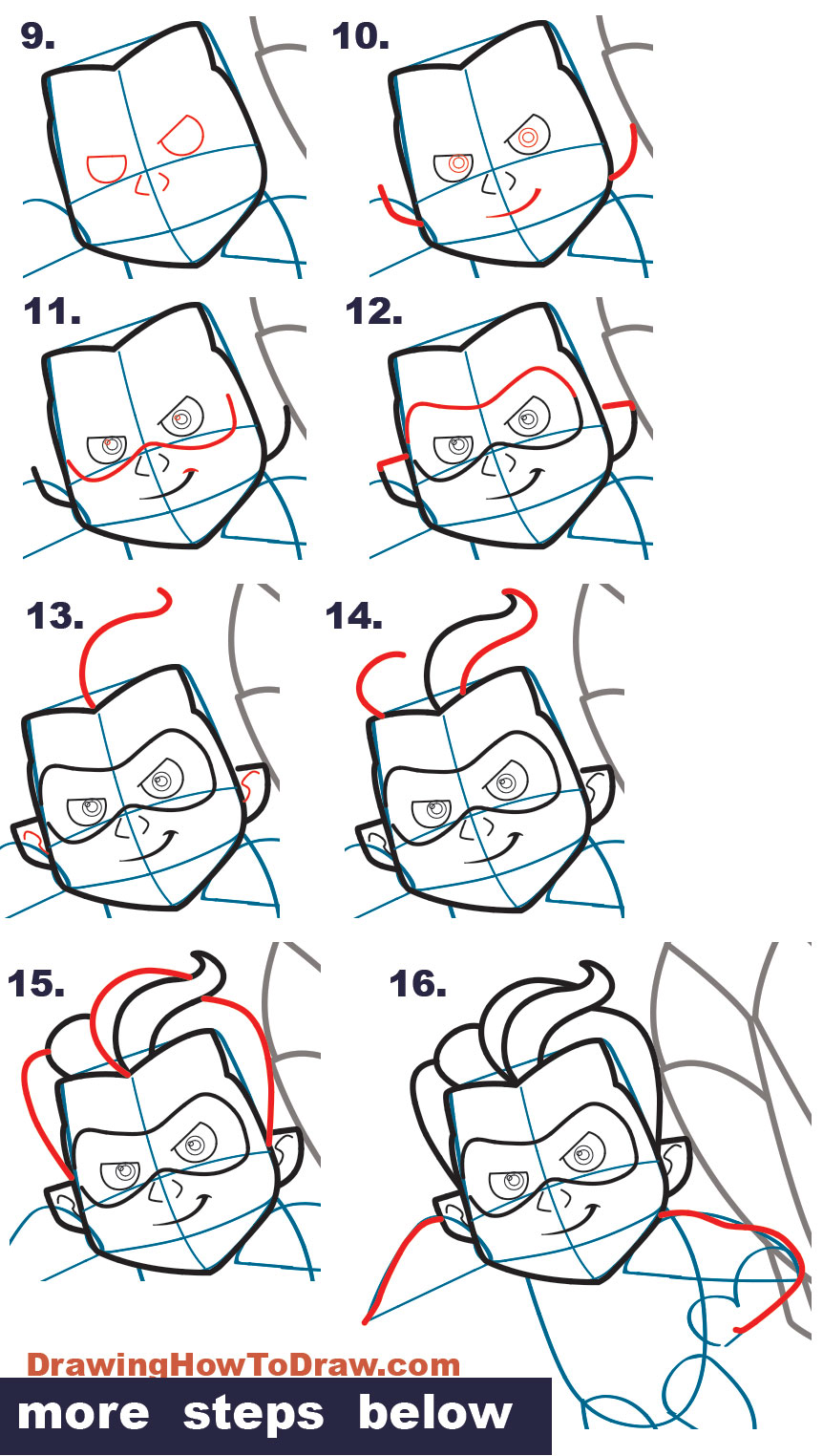 How to Dash from The Incredibles (Part 4 of Drawing The Incredibles 2 Family) Easy Step by Step