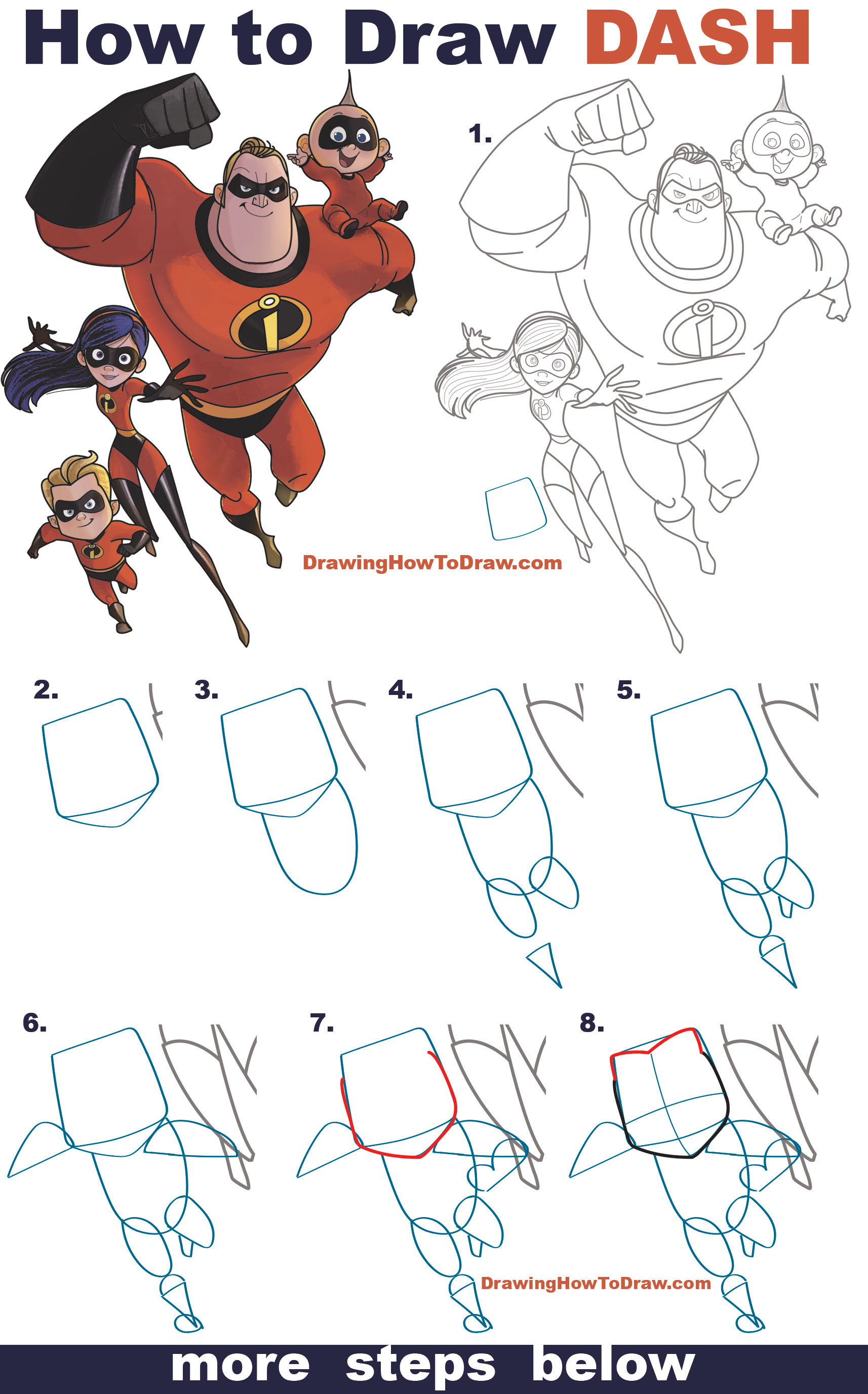 Learn How to Dash Parr from The Incredibles (Part 4 of Drawing The Incredibles 2 Family) Easy Step by Step Drawing Tutorial for Kids & Beginners
