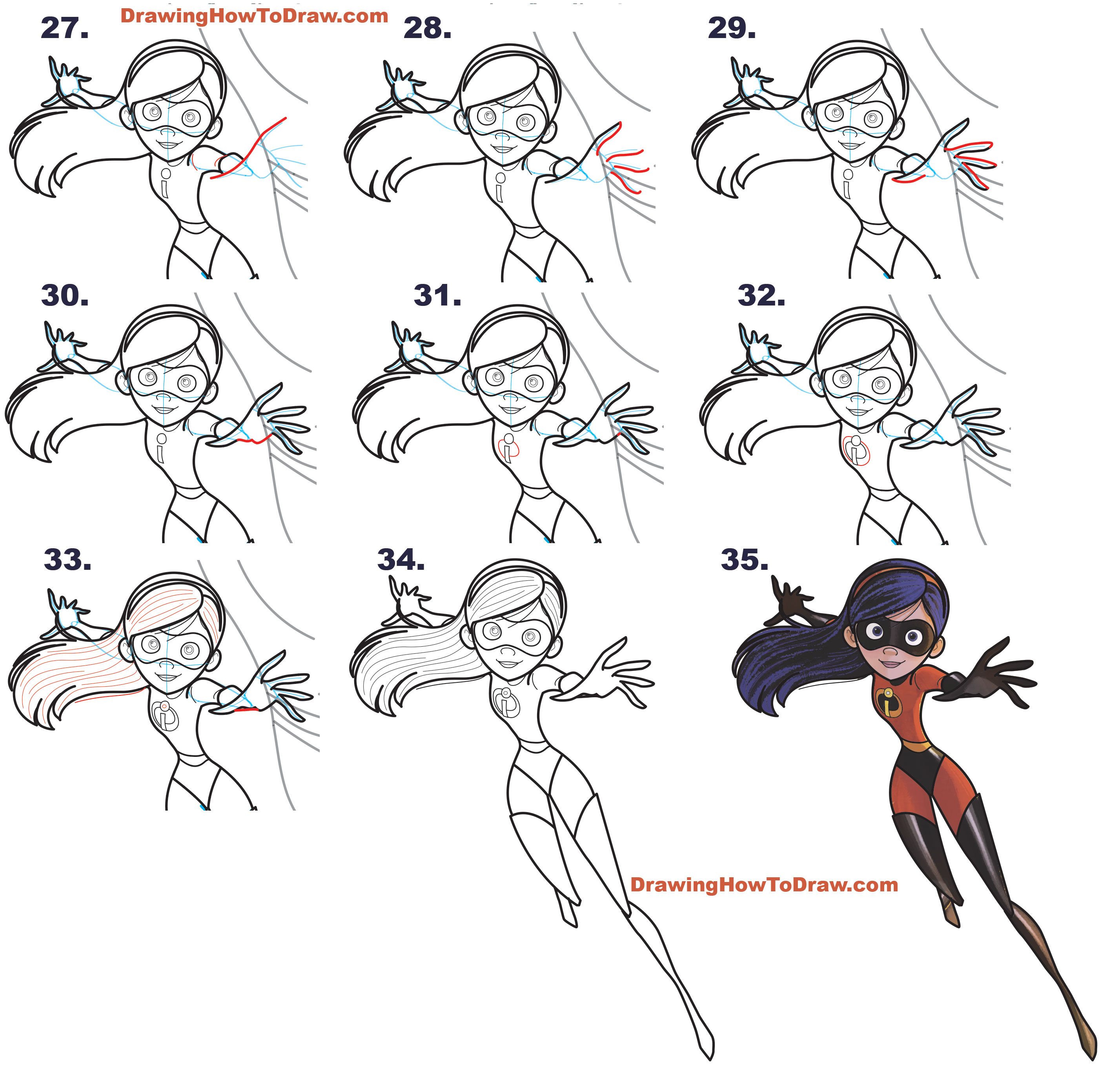 How to Draw Violet, the Daughter, from The Incredibles (Part 3 of Drawing The Incredibles 2 Family) Simple Steps Lesson