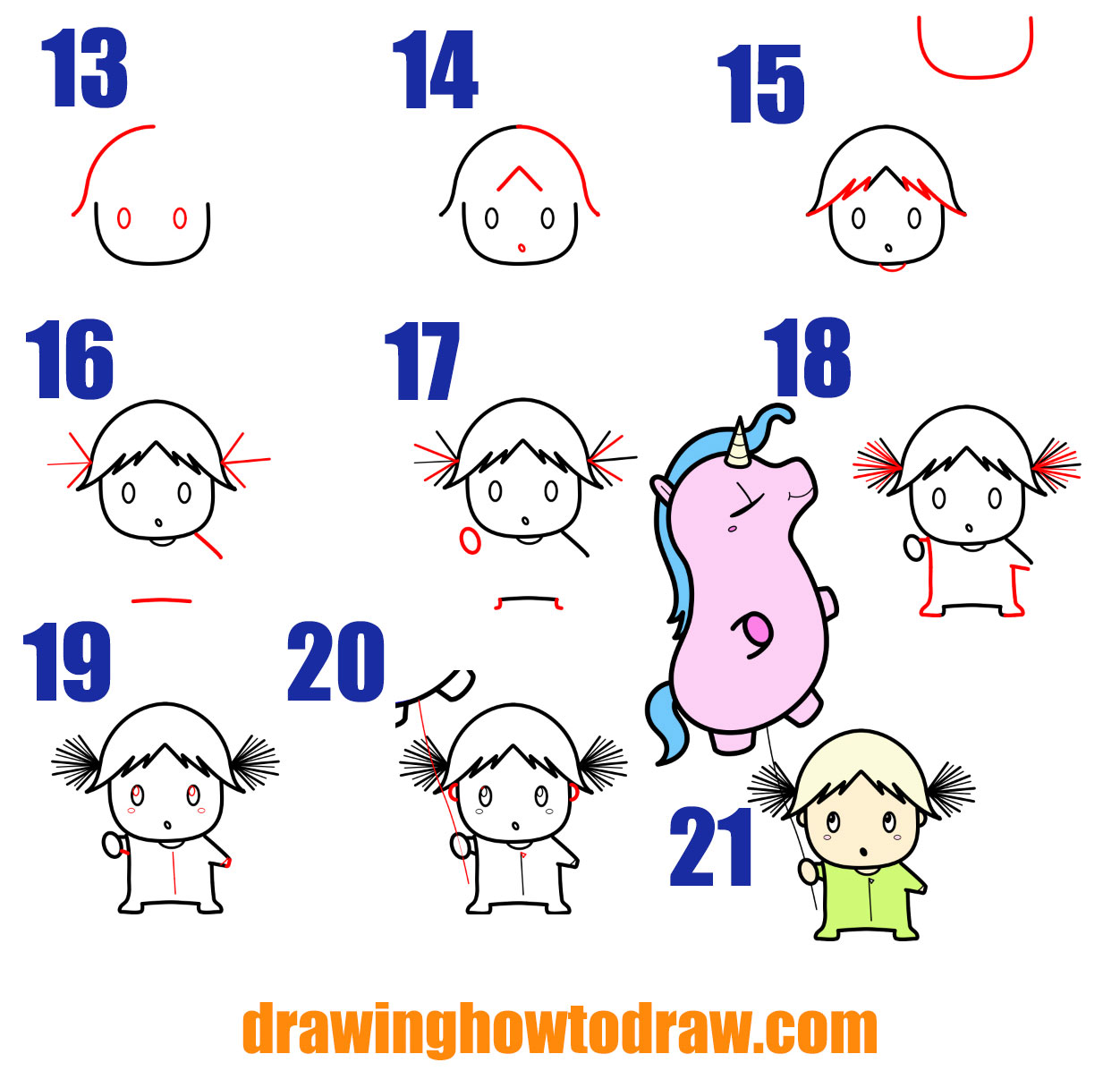 How to Draw a Cute Cartoon (Chibi) Girl with her Unicorn Balloon Simple Steps Drawing Lesson for Children