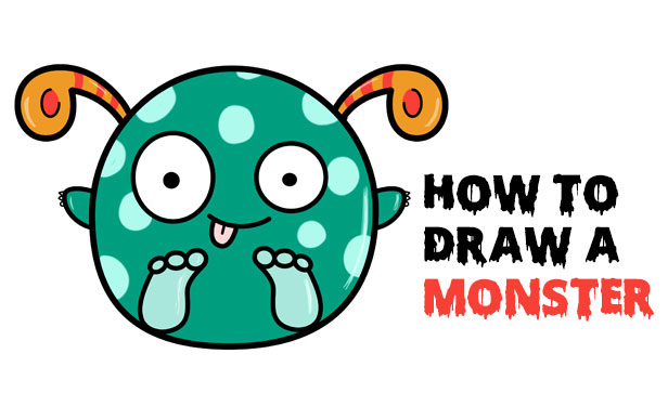 Learn How to Draw a Cute Cartoon Monster - Super Easy Step by Step Drawing Tutorial for Kids and Beginners