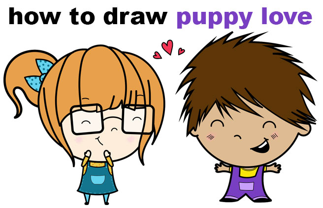 Learn How to Draw a Cute / Chibi Boy and Girl in Love With Simple Steps Drawing Lesson for Children