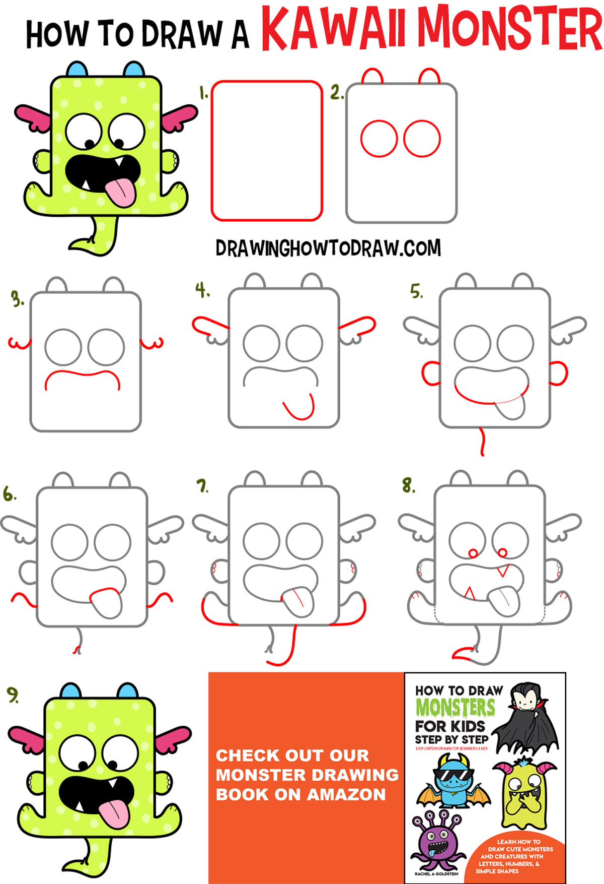 Learn How to Draw a Cute Kawaii Monster with Easy Step by Step Drawing Tutorial for Kids
