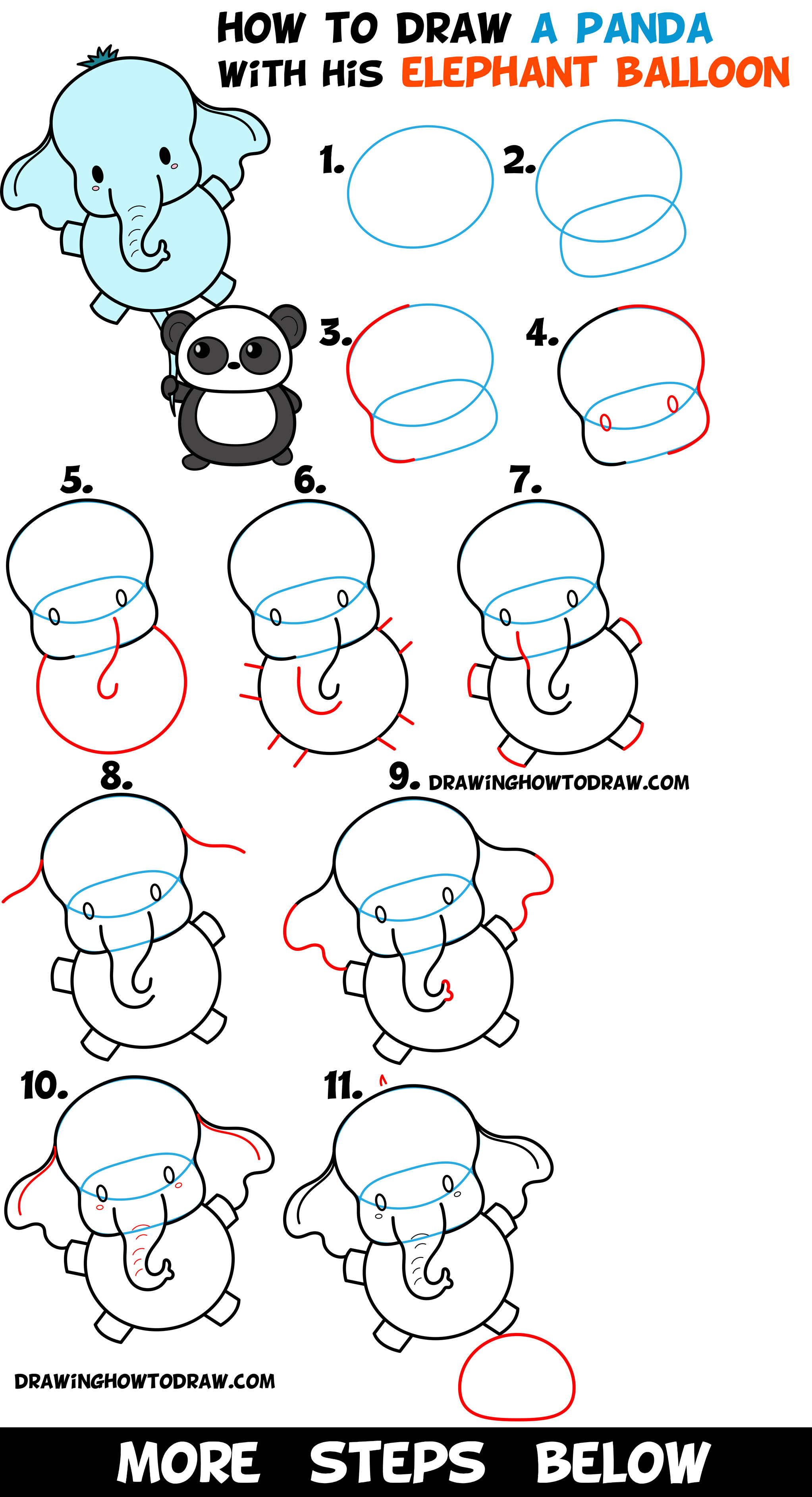 How to Draw a Kawaii Panda Bear Holding an Elephant Balloon Easy Step by Step Drawing Tutorial for Kids