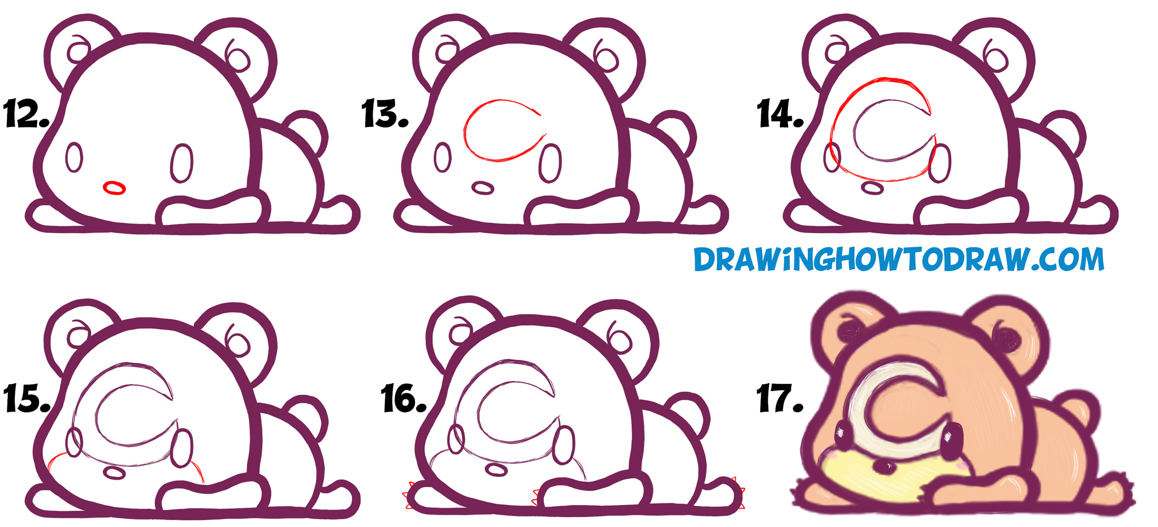 Learn How to Draw Cute Teddiursa Pokemon with Easy Step by Step Drawing Tutorial for Kids & Beginners