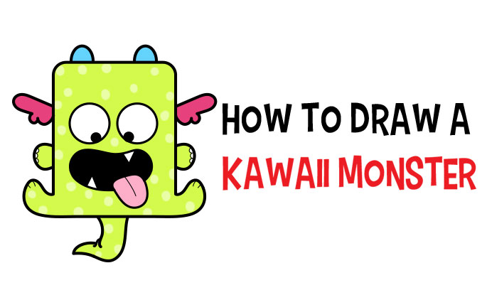 Learn How to Draw a Cute Kawaii Monster with Simple Steps Drawing Lesson for Kids & Beginners