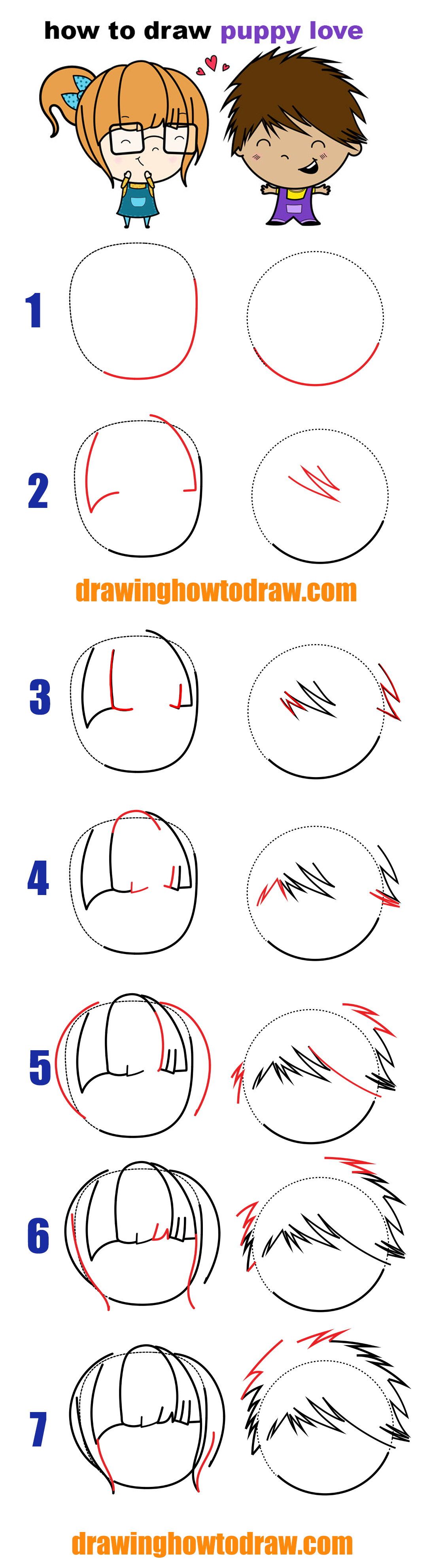 LearnHow to Draw a Cute / Kawaii Boy and Girl in Love With Easy Step by Step Drawing Tutorial for Kids and Beginners