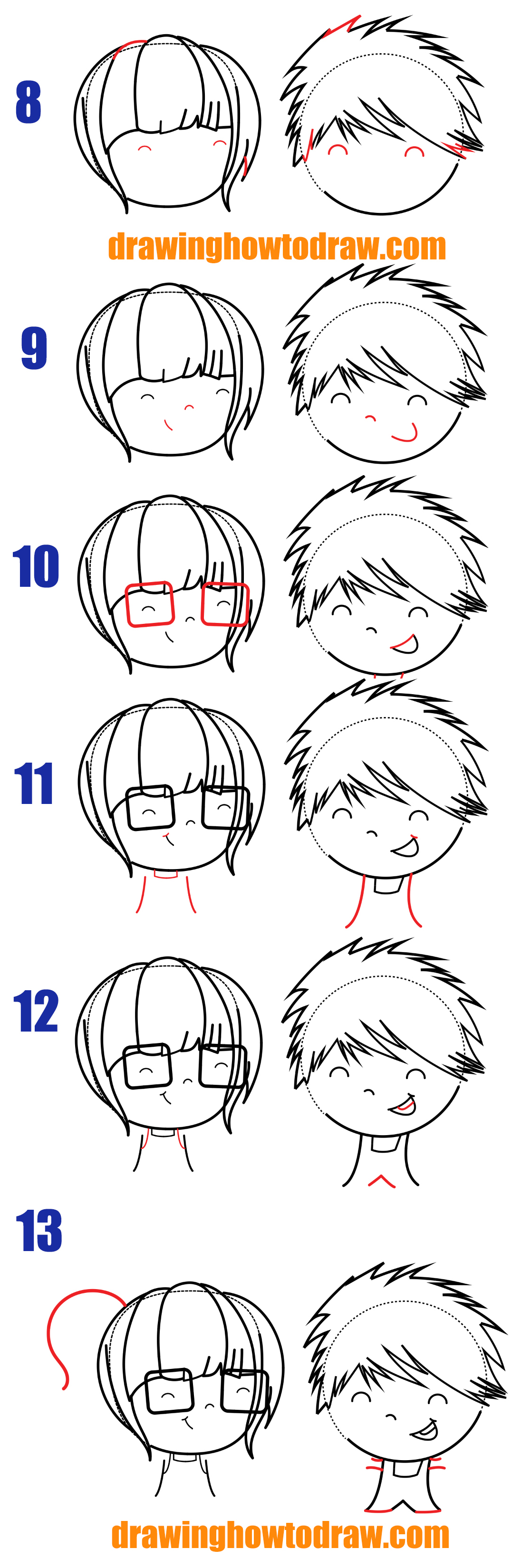 Learn How to Draw a Cute / Kawaii Boy and Girl in Love With Easy Step by Step Drawing Tutorial for Kids and Beginners