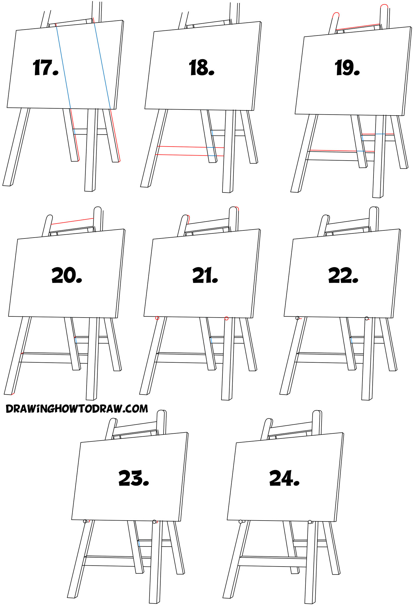 Learn How to Draw an Easel and Canvas - Simple Steps Drawing Lesson for Beginners
