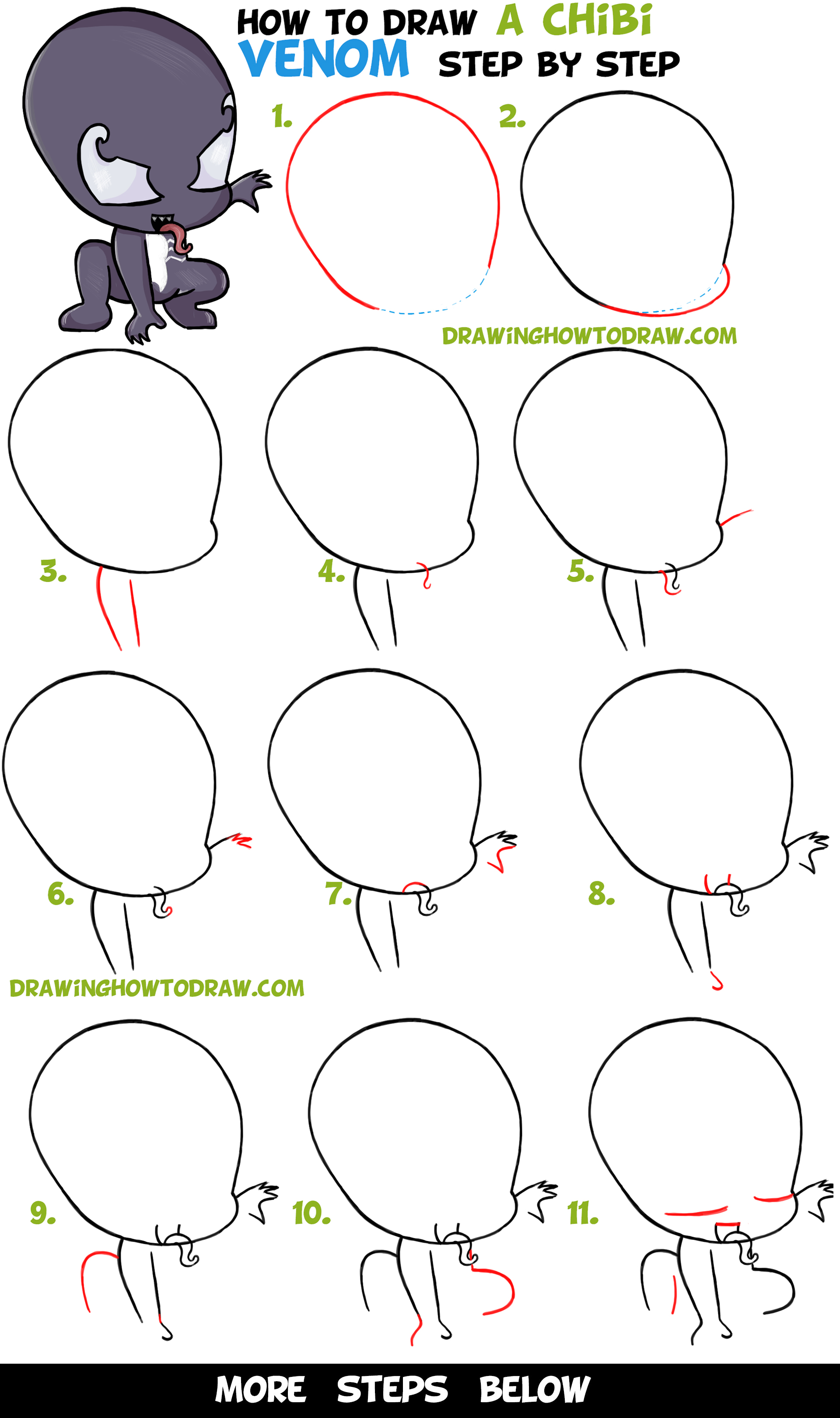 Learn How to Draw Chibi / Cute Venom from Marvel + Spiderman - Easy Step by Step Drawing Tutorial for Kids & Beginners
