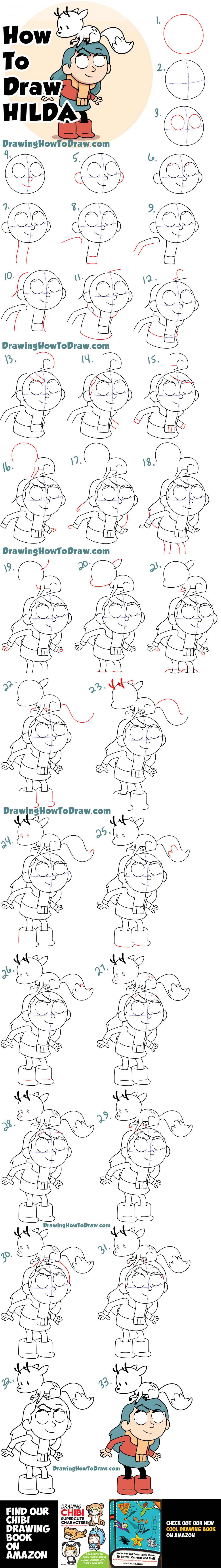 How to Draw Hilda and Her Deer-Fox Easy Step by Step Drawing Tutorial for Kids & Beginners