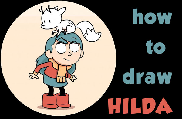 Learn How to Draw Hilda and Her Deer-Fox Easy Step by Step Drawing Tutorial for Kids & Beginners