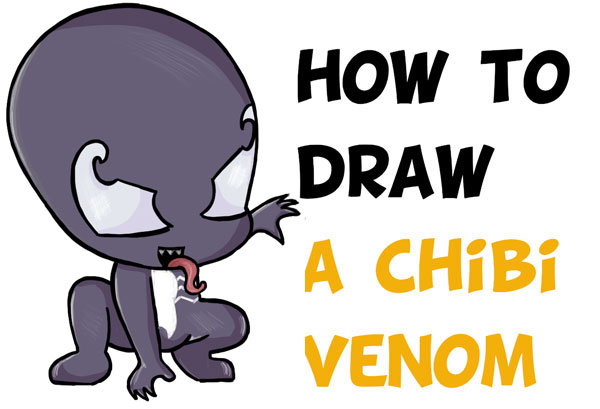 How To Draw Chibi Cute Venom From Marvel Spiderman Easy Step