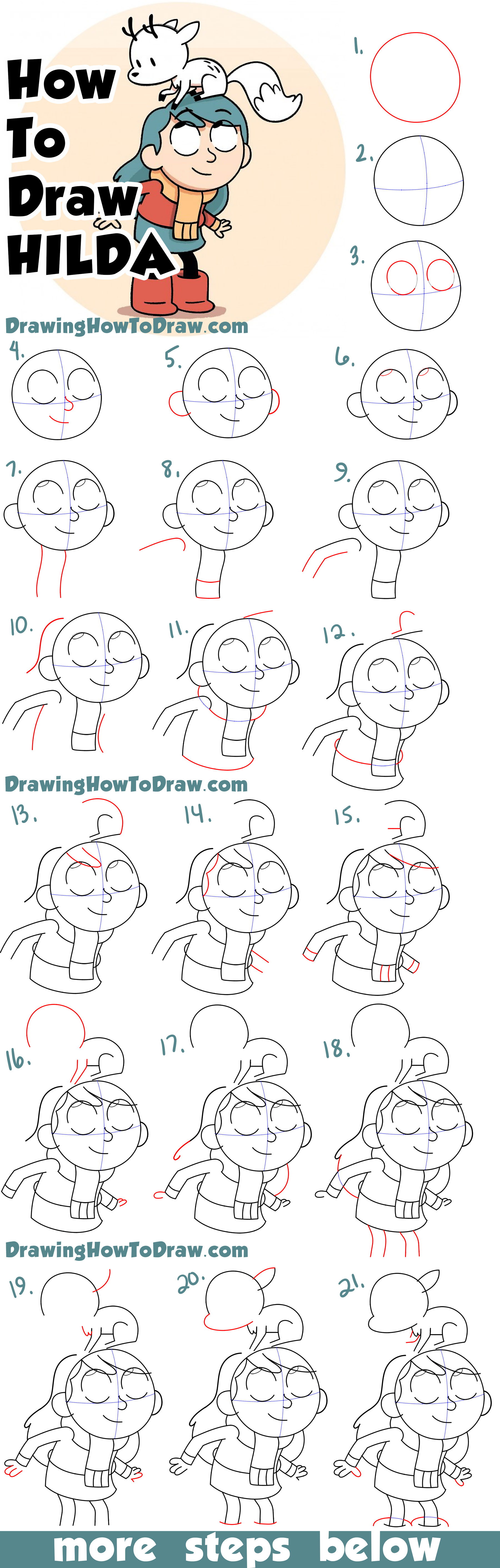 Learn How to Draw Hilda and Her Deer-Fox Simple Steps Drawing Lesson for Kids & Beginners