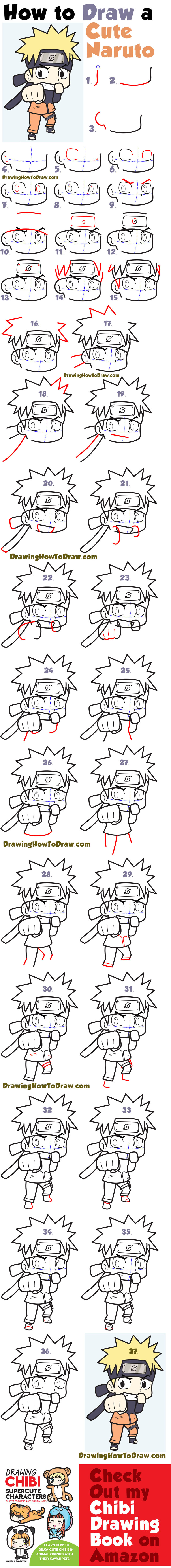 Learn how to draw a super cute chibi naruto simple steps drawing lesson for kids