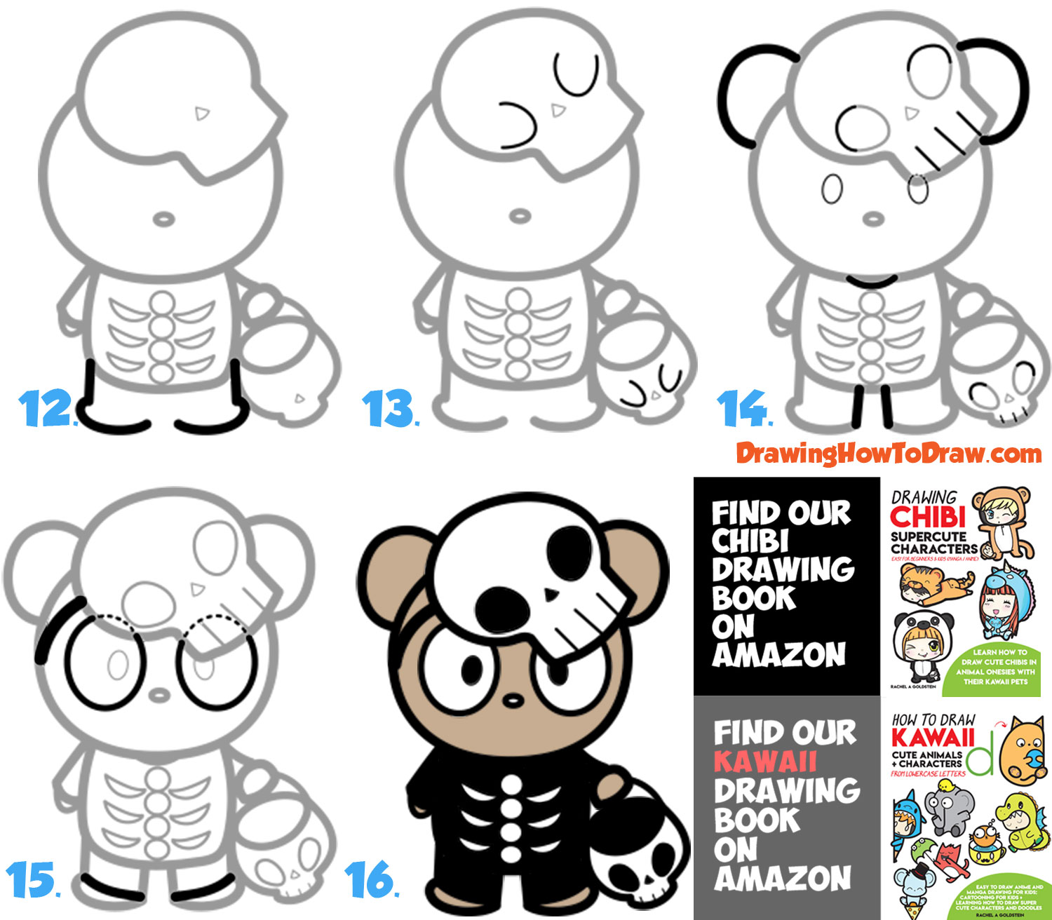 How to Draw a Cute Cartoon Bear Trick-or-Treater Dressed Up as a Skeleton for Halloween Easy Steps Drawing Lesson for Kids