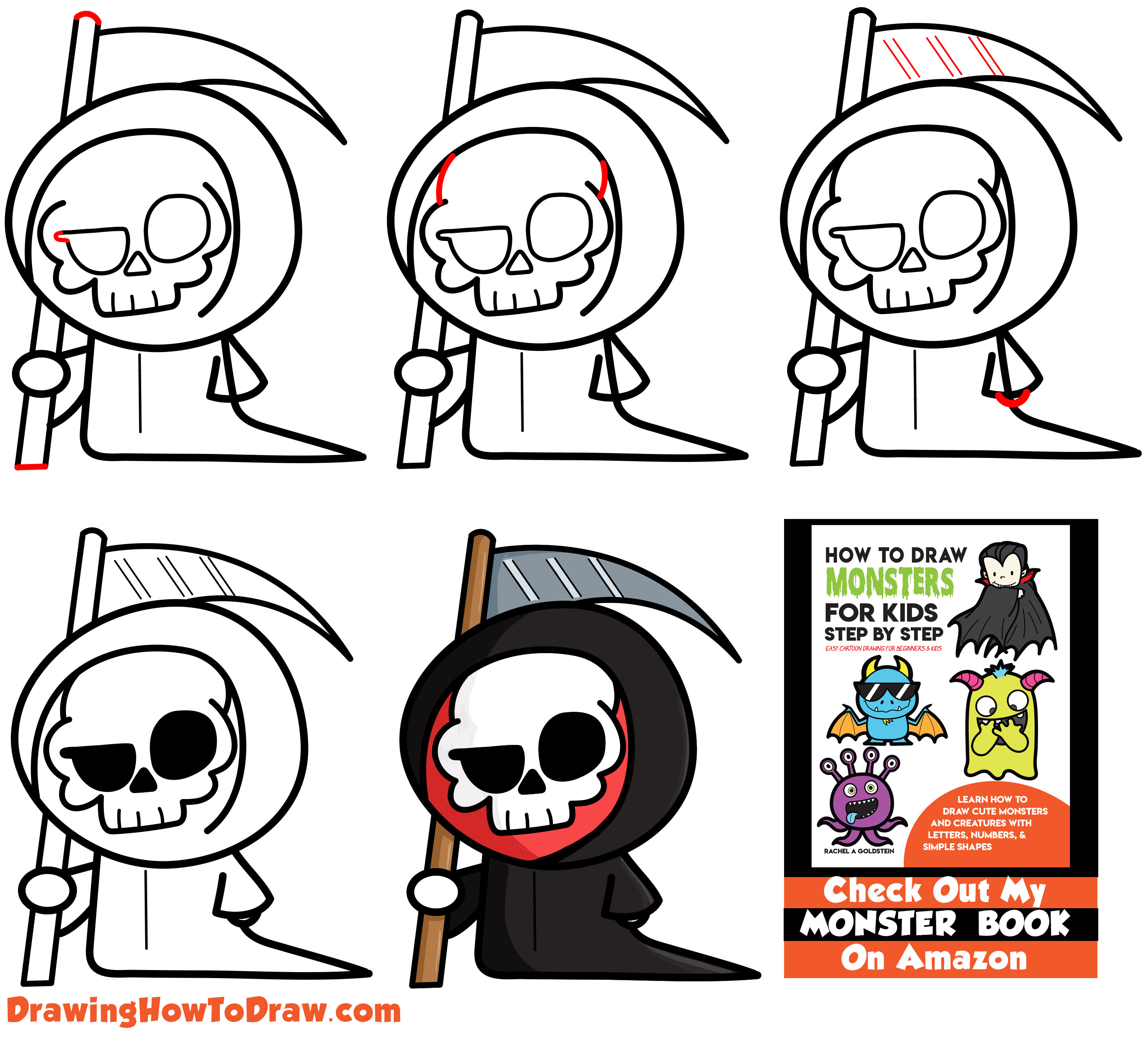 Learn How to Draw a Cute Cartoon Grim Reaper (Kawaii / Chibi) Simple Steps Drawing Lesson for Kids & Beginners