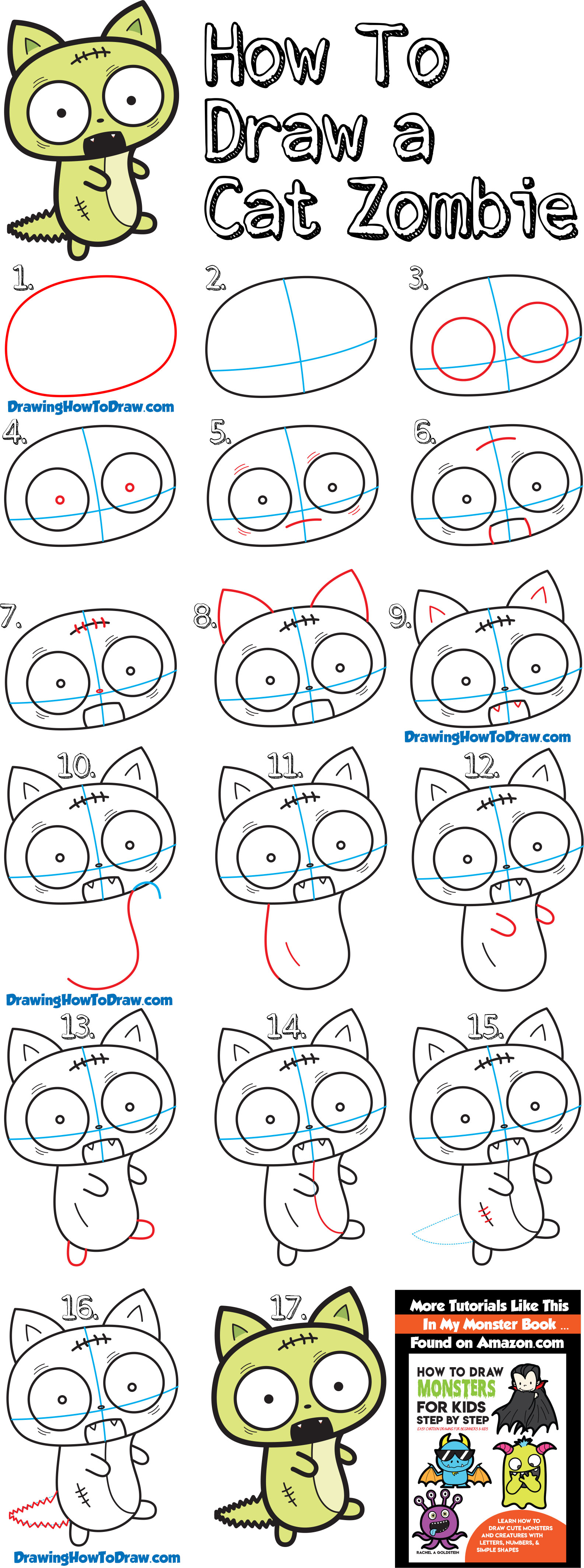 Learn How to Draw a Chibi / Kawaii Style Cat Zombie for Halloween Simple Steps Drawing Lesson for Kids & Beginners
