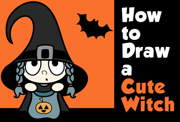 learn how to draw a super cute cartoon witch trick or treater for halloween