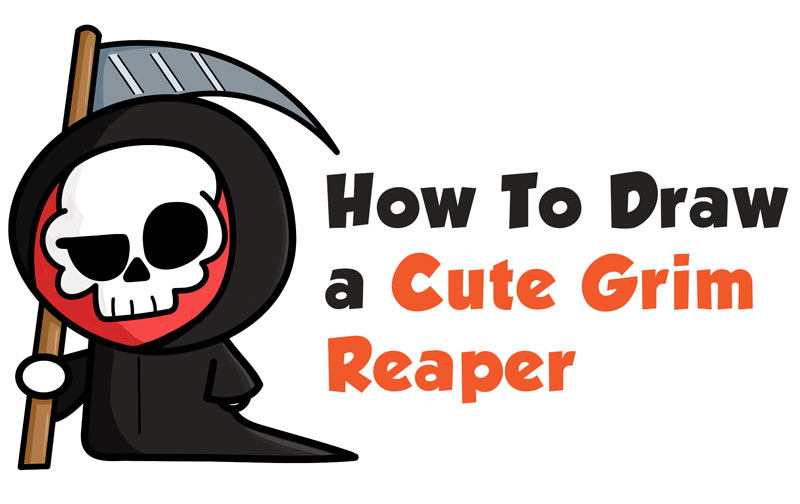 How to Draw a Cute Cartoon Grim Reaper (Kawaii / Chibi) Easy Step by Step Drawing Tutorial for Kids & Beginners
