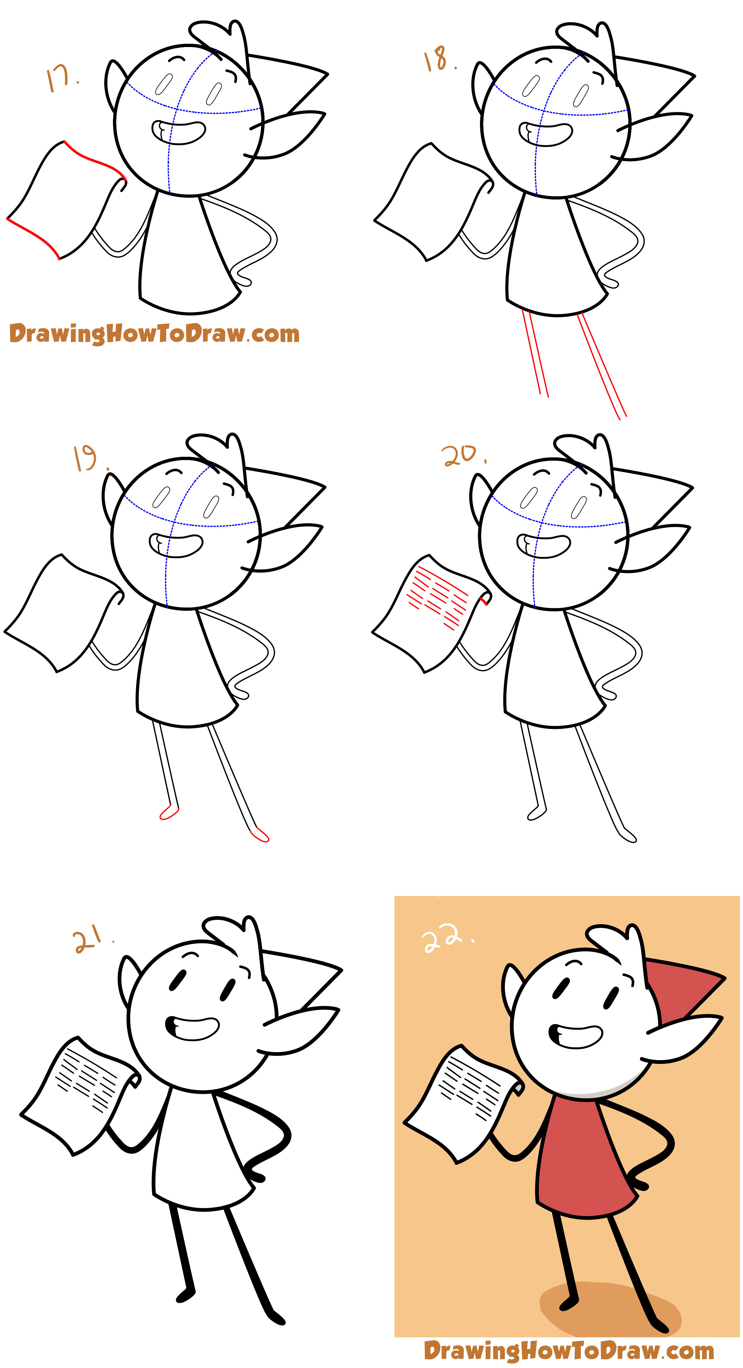 Learn How to Draw Alfur the Elf from Hilda Simple Steps Drawing Lesson for Beginners + Kids
