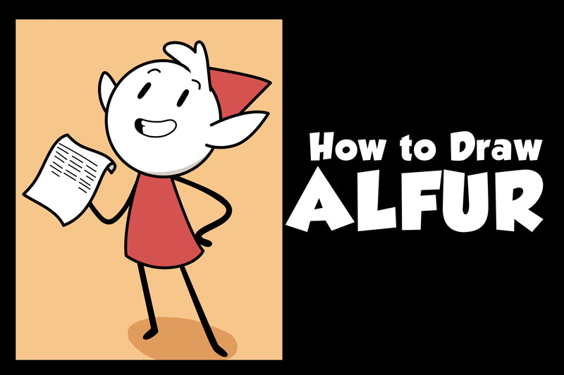 Learn How to Draw Alfur the Elf from Hilda Easy Step by Step Drawing Tutorial for Beginners + Kids