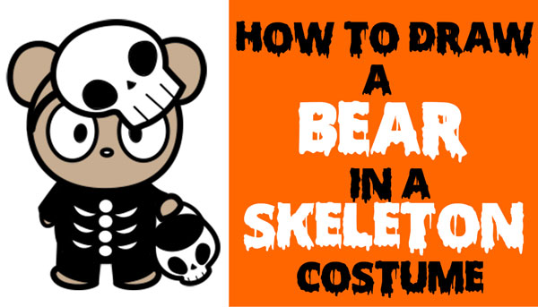 How To Draw A Cute Cartoon Bear Trick Or Treater Dressed Up As