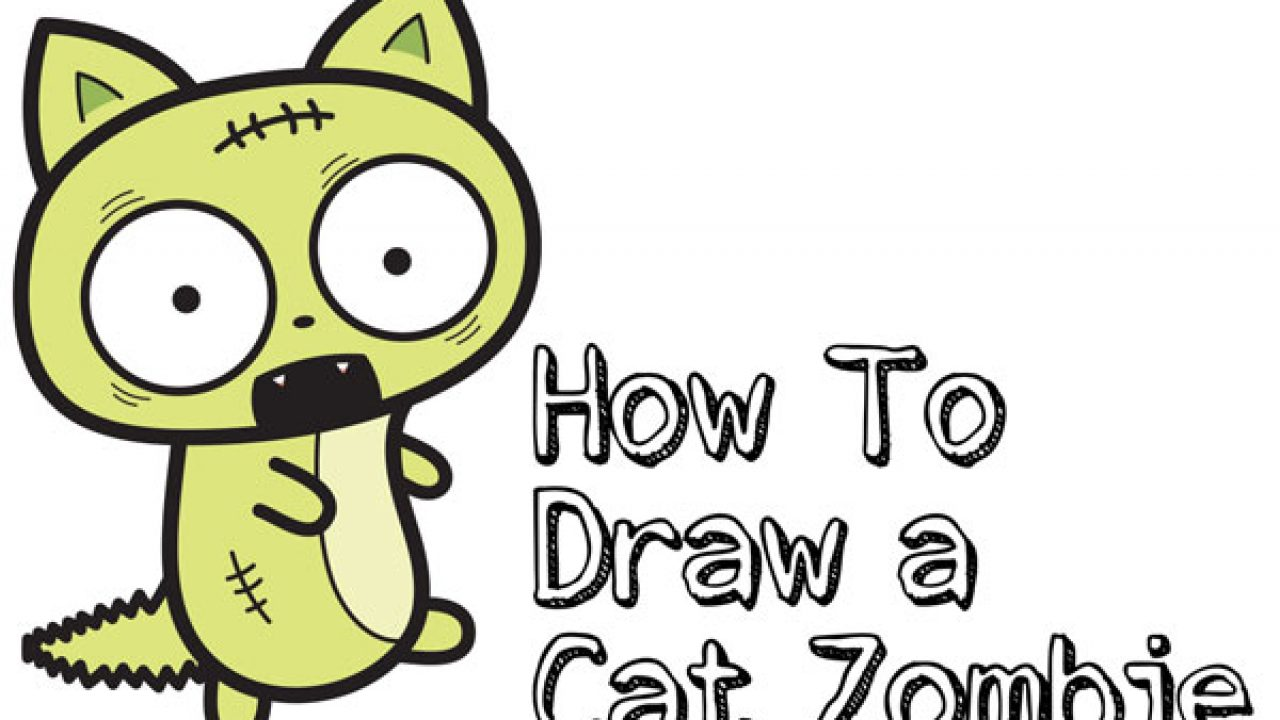 How to Draw a Cat Zombie for Halloween Easy Step by Step
