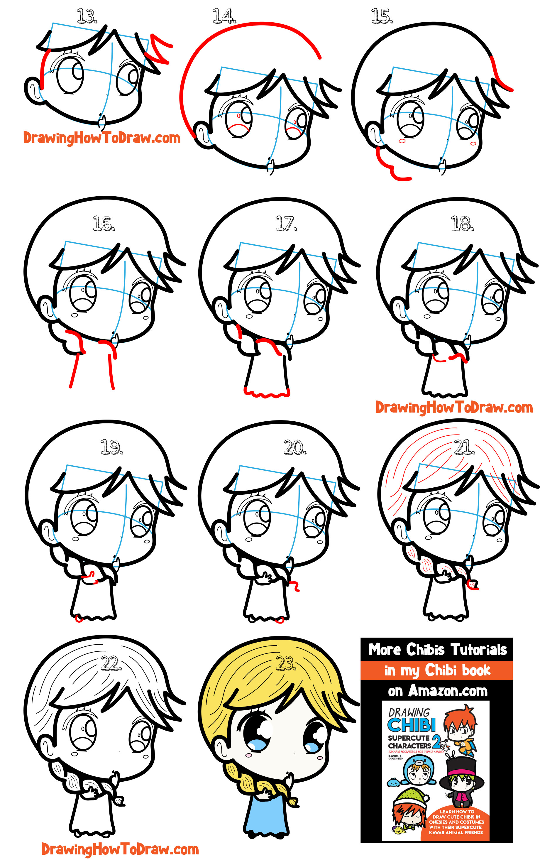 Learn How to Draw a Supercute Chibi Girl with Simple Steps Drawing Tutorial for Kids & Beginners