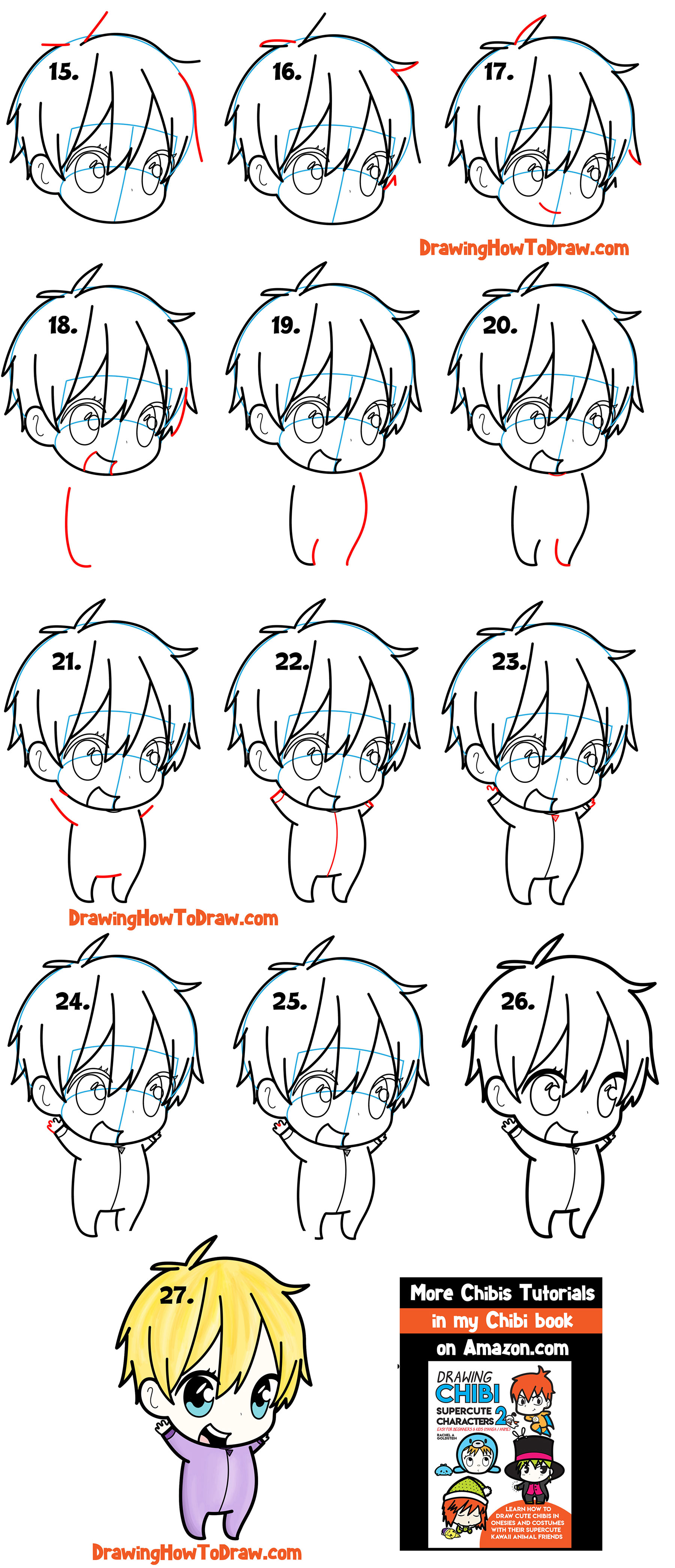 Learn How to Draw a Cute Chibi Boy Simple Steps Drawing Lesson for Kids & Beginners