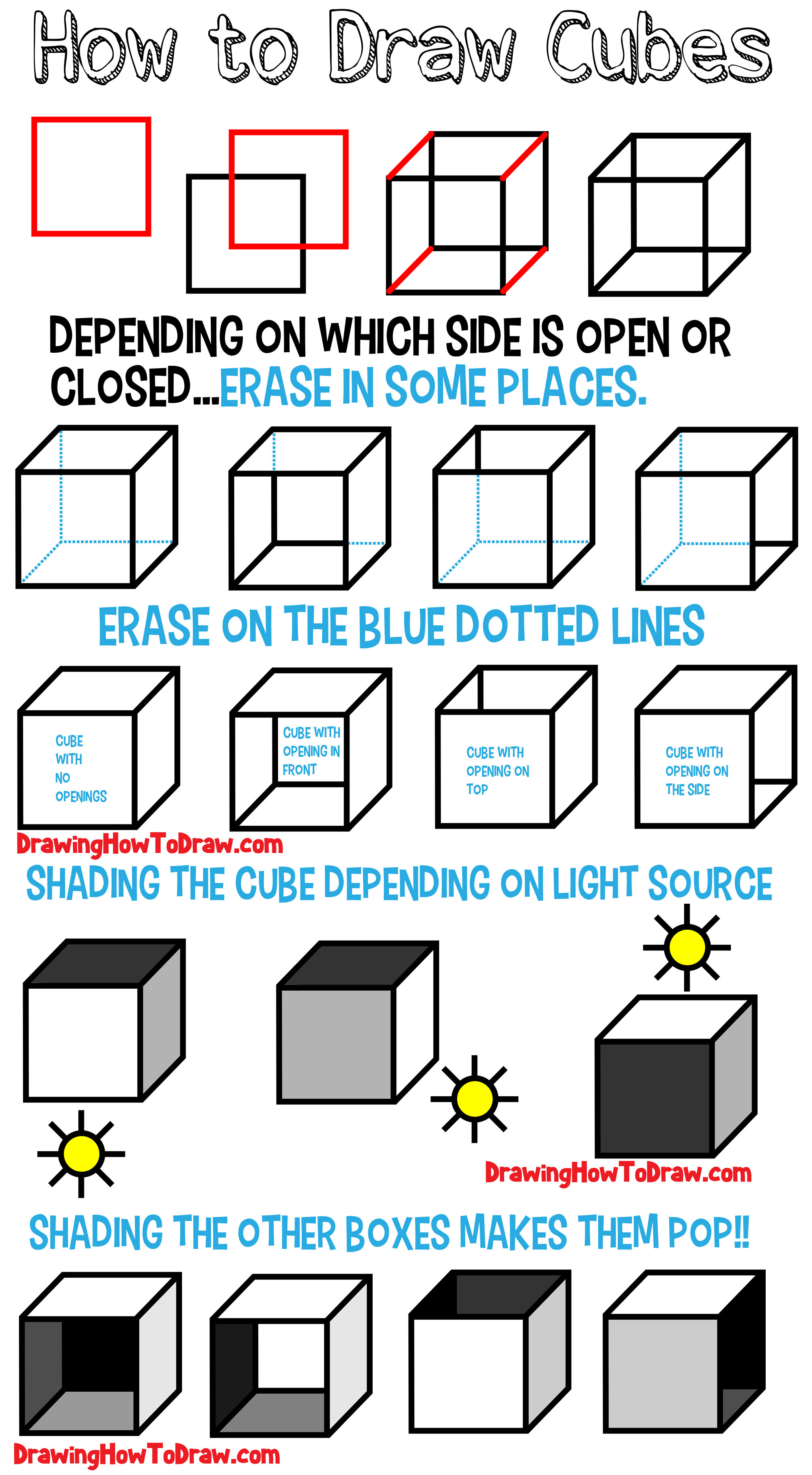 Learn How to Draw a Cube (Shading & Drawing Cubes and Boxes from Different Angles) Step by Step Tutorial