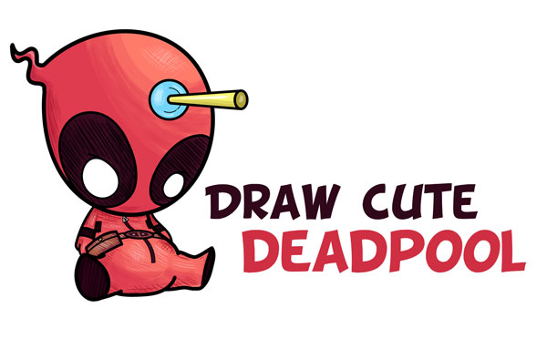 Learn How to Draw Cute Cartoon / Chibi Deadpool Easy Step by Step Drawing Tutorial for Beginners