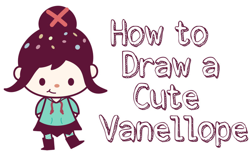 How to Draw Cute Kawaii Chibi Vanellope (Glitch) from Wreck It Ralph 2 - Simple Step by Step Drawing Tutorial for Kids