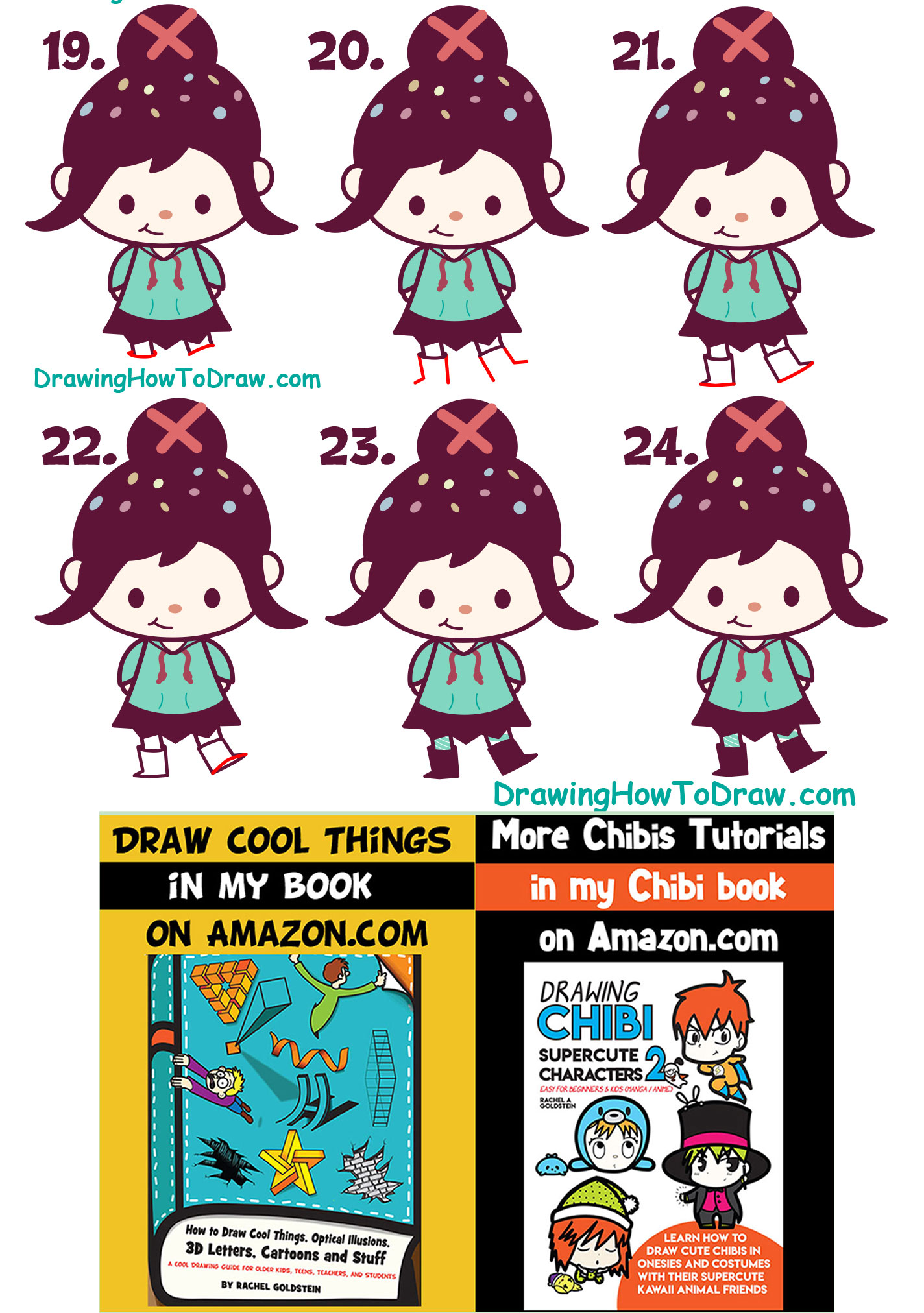 LearnHow to Draw Cute Kawaii Chibi Vanellope (Glitch) from Wreck It Ralph 2 - Easy for Kids