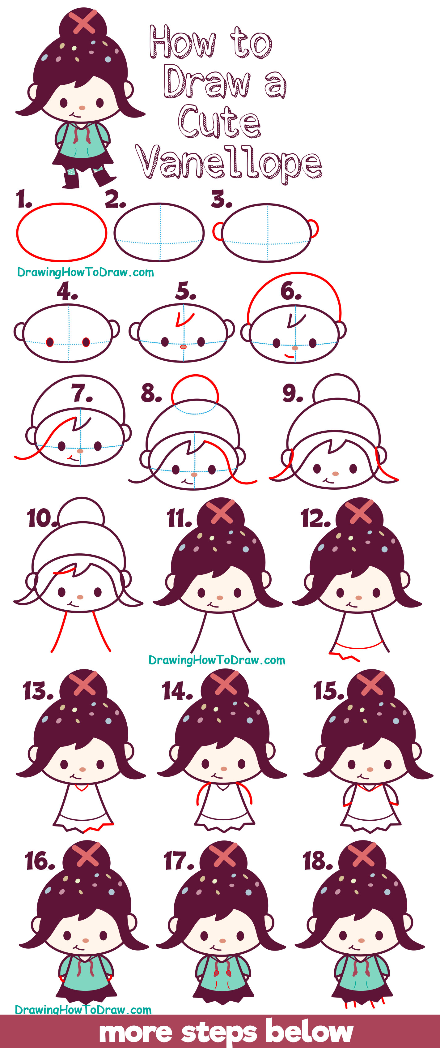 Learn How to Draw Cute Kawaii Chibi Vanellope (Glitch) from Wreck It Ralph 2 - Easy for Kids