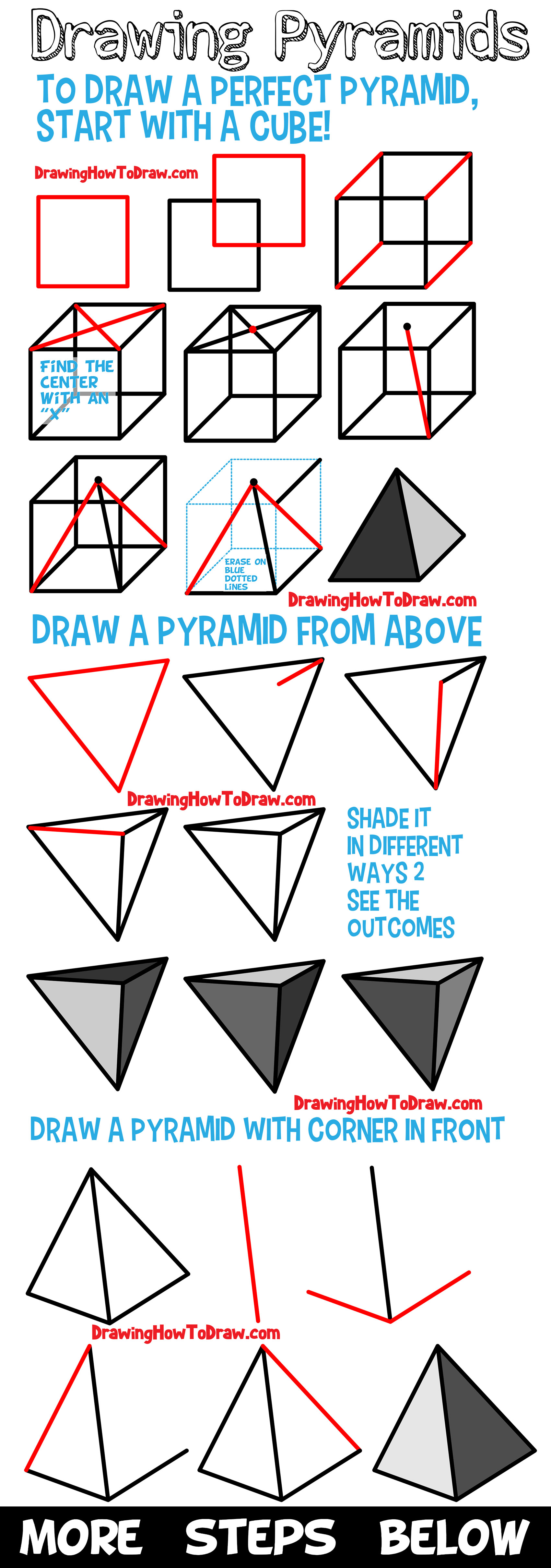 Learn How to Draw Pyramids : Guide to Drawing Pyramids from Different Angles for Beginners