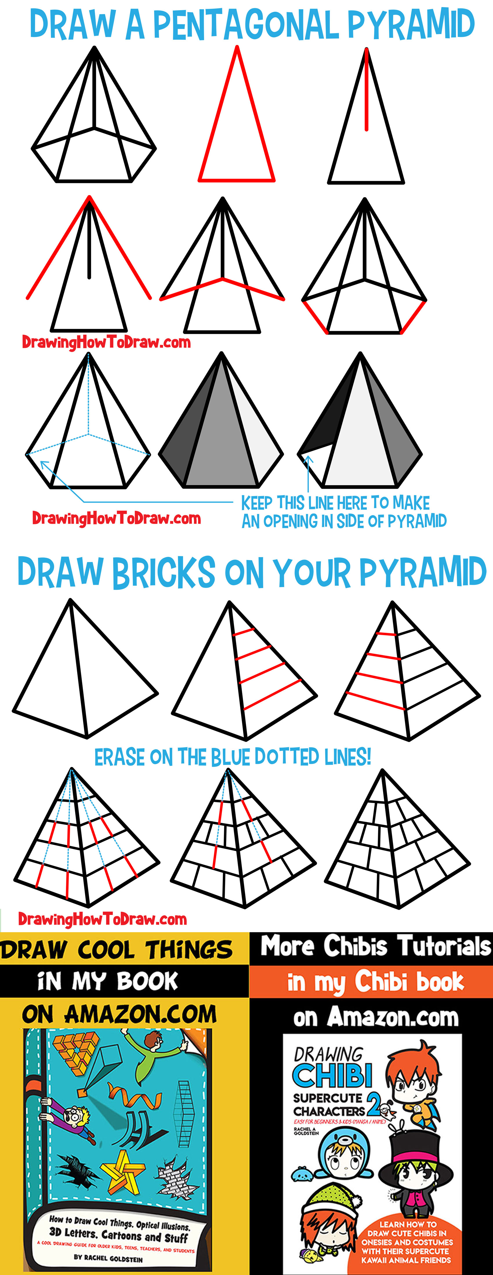 Learn How to Draw Pyramids : Guide to Drawing & Shading Pyramids from Different Angles for Beginners