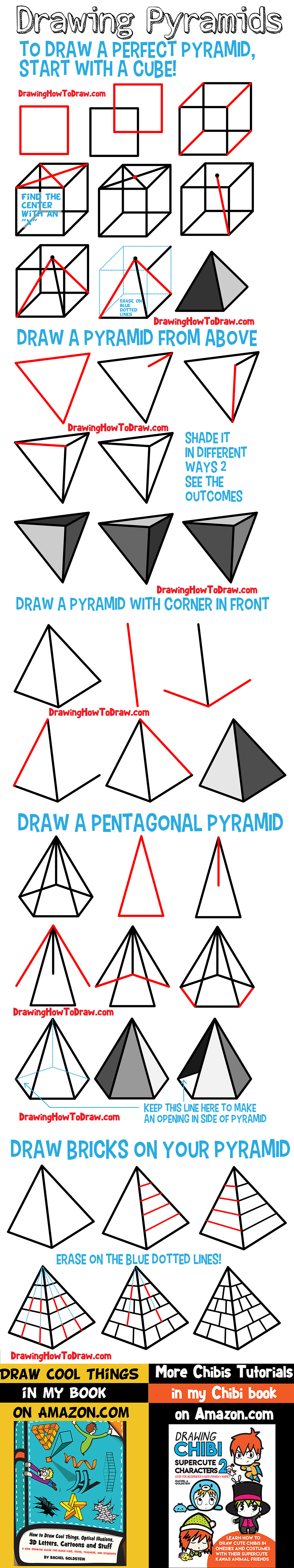 how to draw pyramids, how to draw a pyramid, shading, shade, pyramid, pyramids, guide