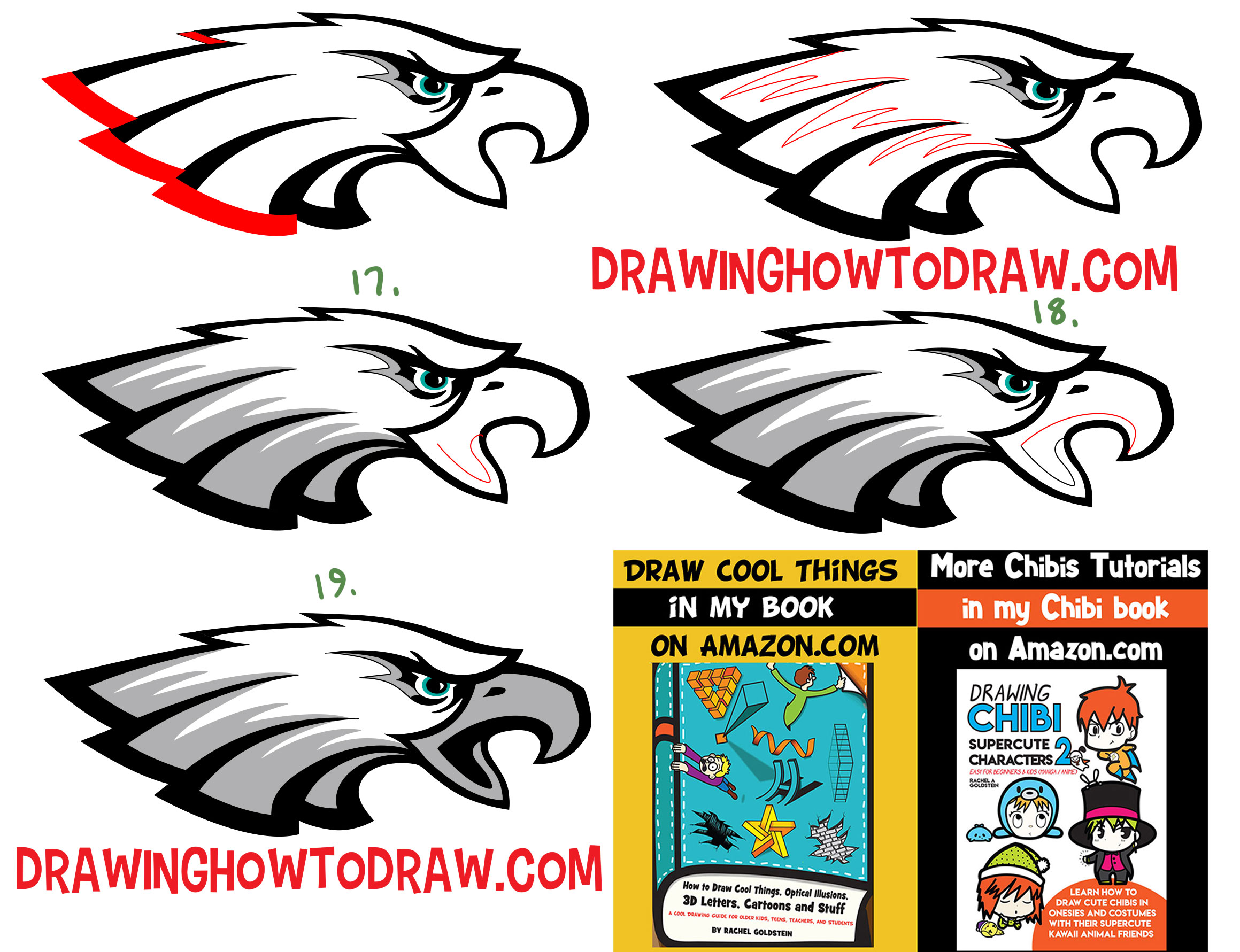 Learn How to Draw the Eagle's Logo with Simple Steps Drawing Tutorial for Beginners