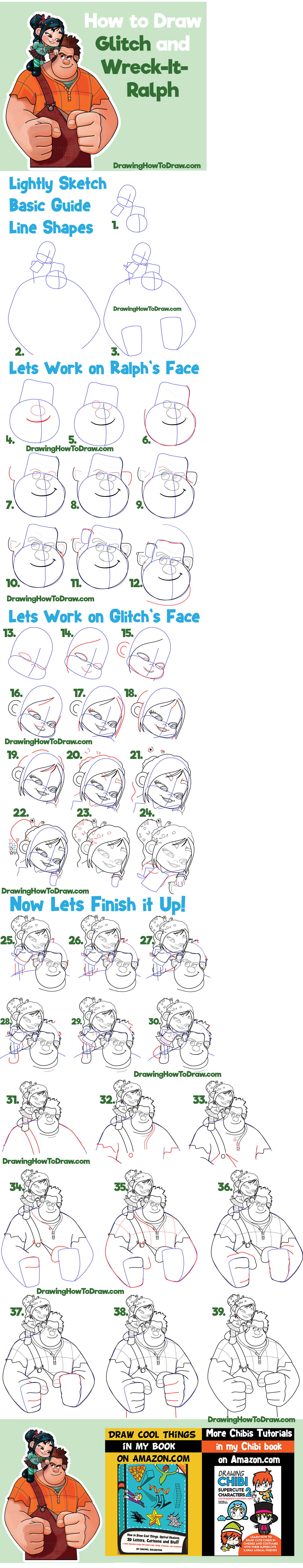 Learn How to Draw Ralph and Vanellope (Glitch) from Wreck It Ralph 2 Simple Step by Step Drawing Tutorial for Beginners