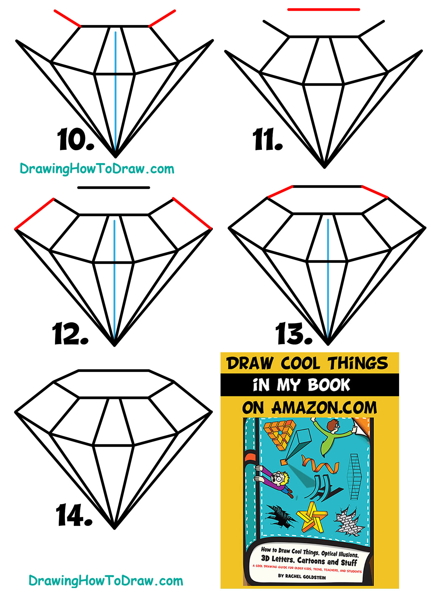 Learn How to Draw Diamonds Simple Steps Drawing Lesson for Kids & Beginners