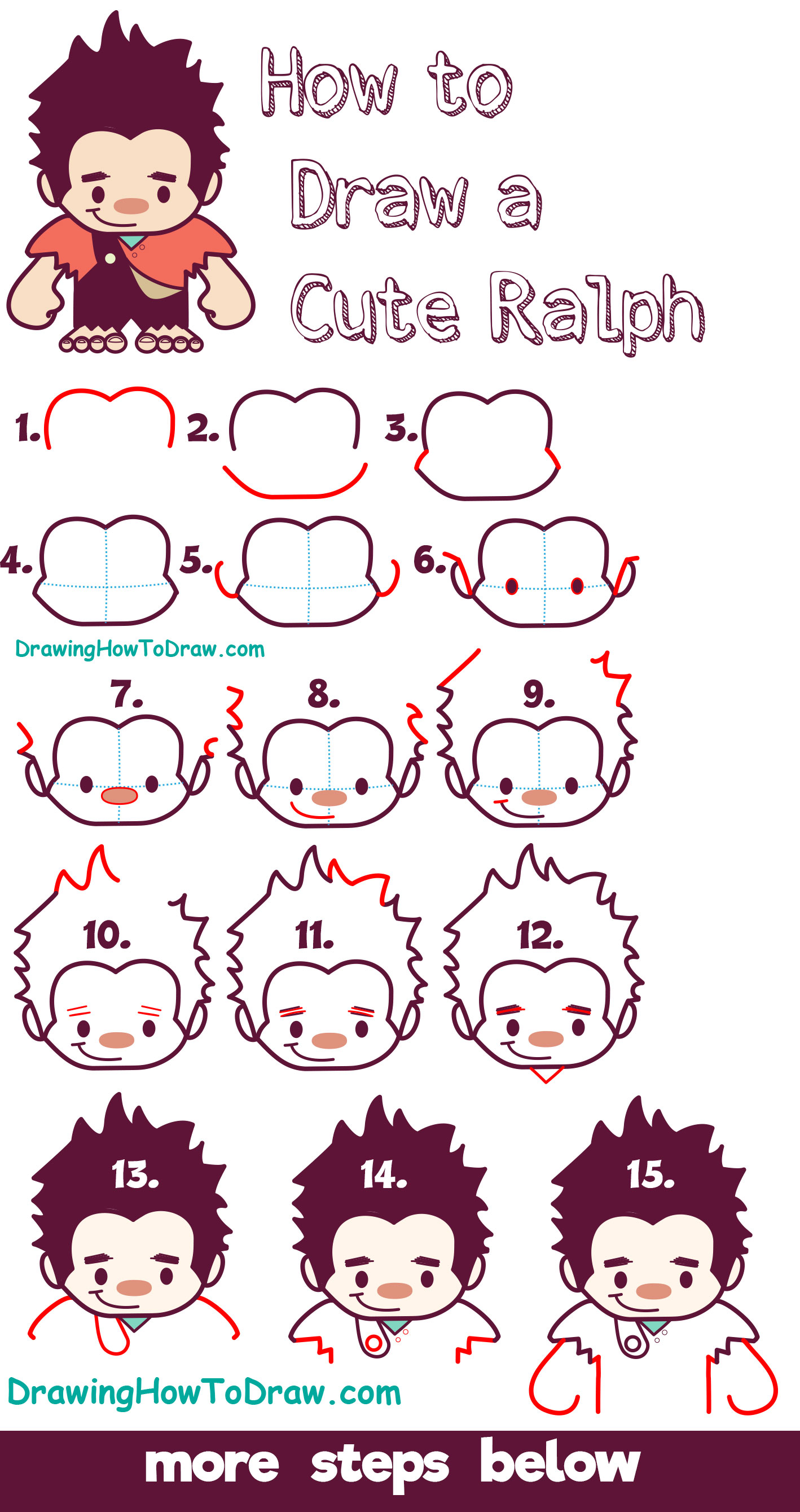 Learn How to Draw Cute Kawaii Chibi Ralph from Wreck it Ralph - Easy Steps for Kids