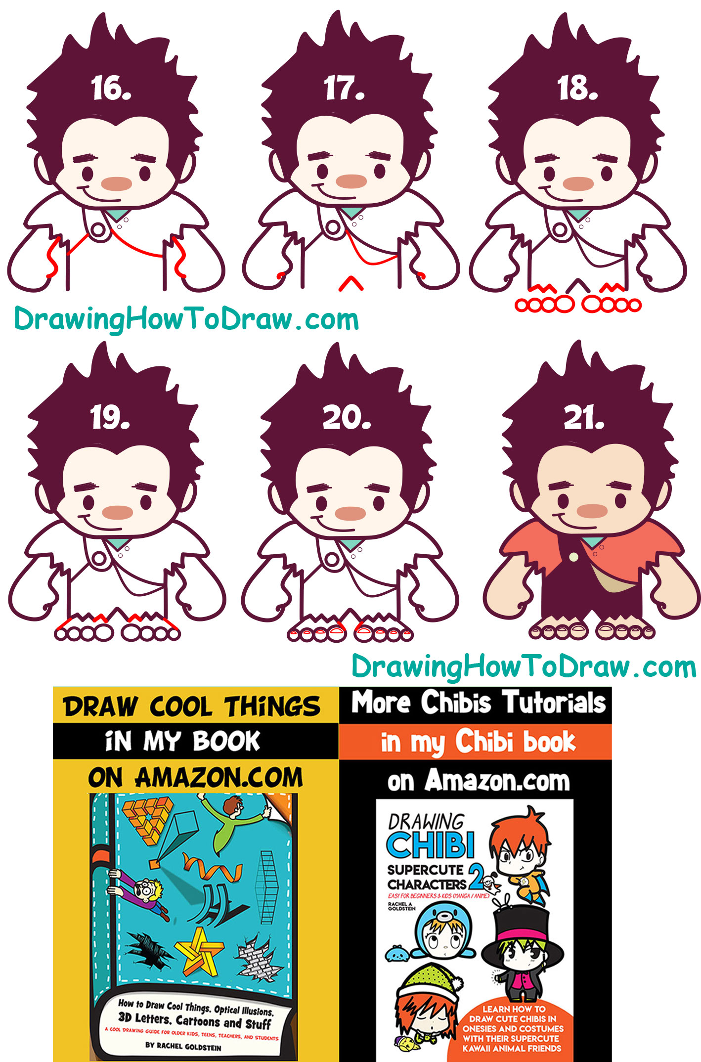 Learn How to Draw Cute Kawaii Chibi Ralph from Wreck it Ralph - Simple Step by Step Tutorial for Kids