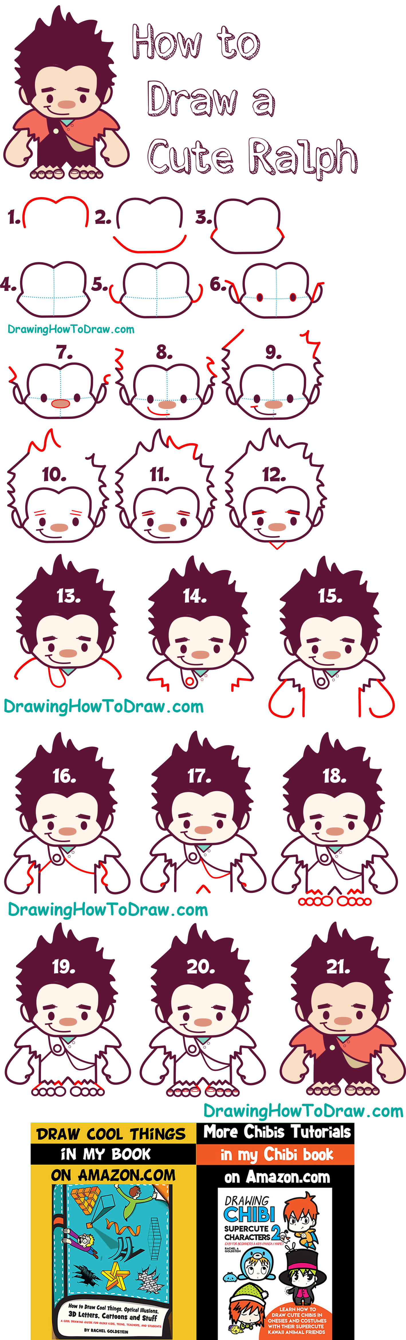 How to Draw Cute Kawaii Chibi Ralph from Wreck it Ralph - Easy Steps for Kids