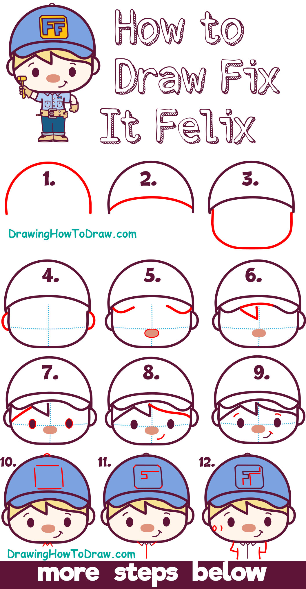 Learn How to Draw Cute Kawaii Chibi Fix-it Felix from Wreck it Ralph 2 - Easy Steps for Kids