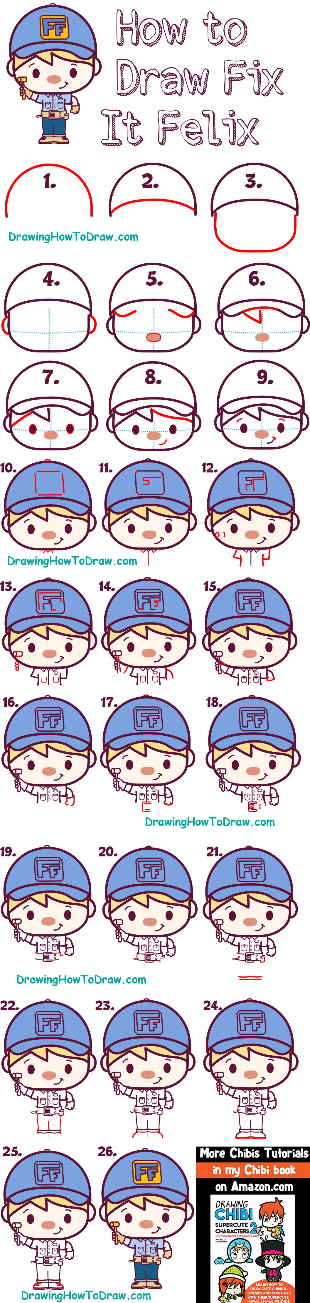 How to Draw Cute Kawaii Chibi Fix-it Felix from Wreck it Ralph 2 - Easy Steps for Kids